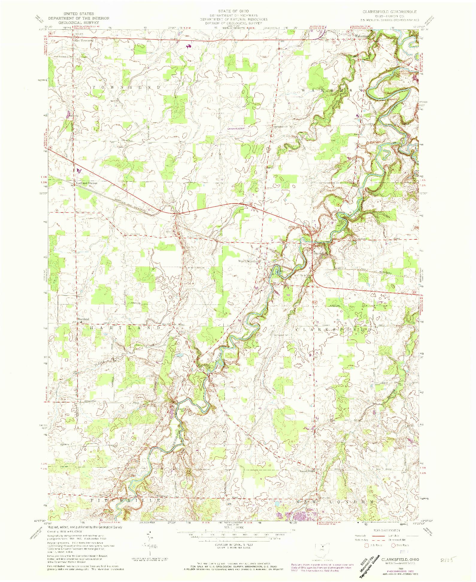 USGS 1:24000-SCALE QUADRANGLE FOR CLARKSFIELD, OH 1960