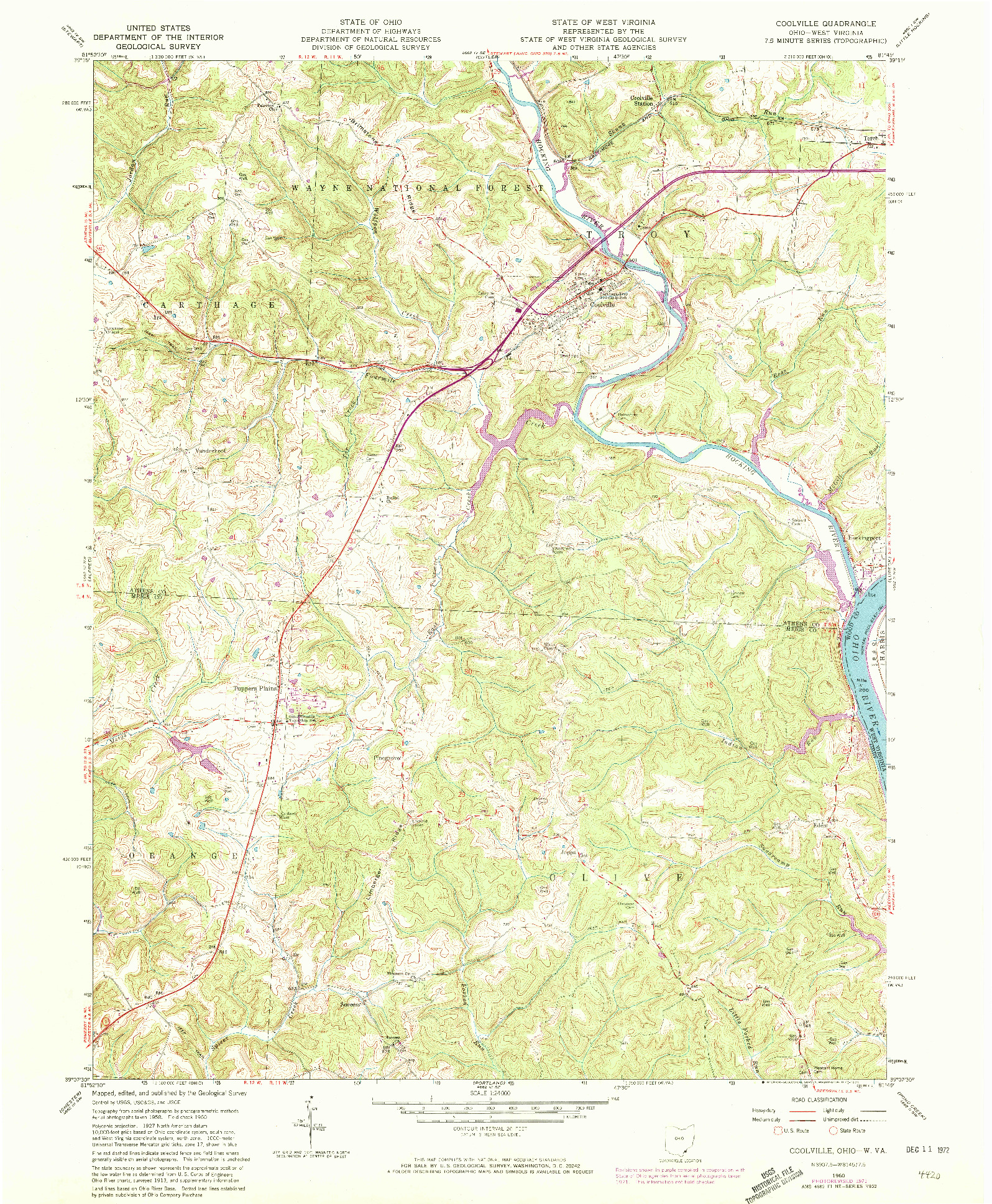 USGS 1:24000-SCALE QUADRANGLE FOR COOLVILLE, OH 1960