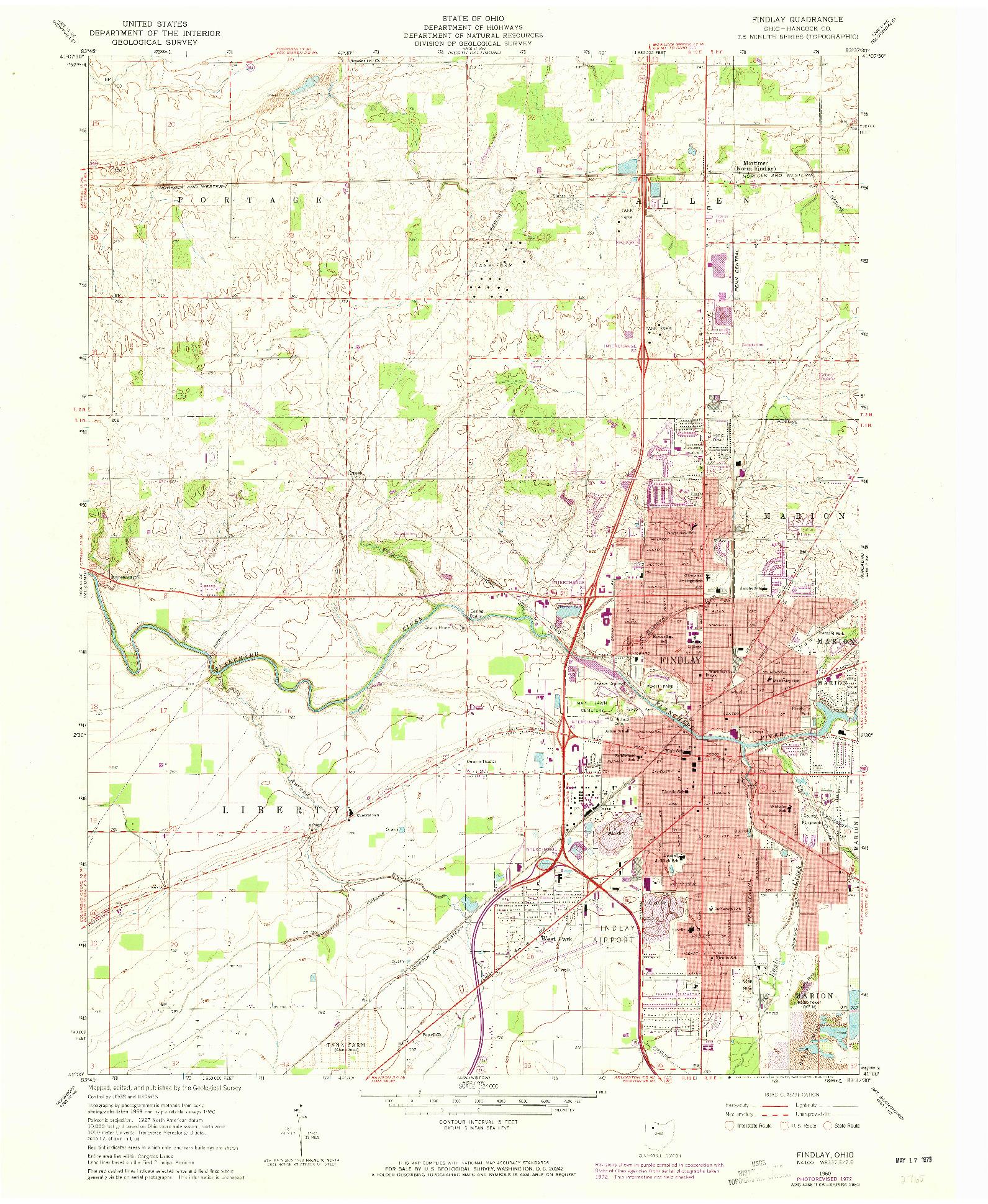 USGS 1:24000-SCALE QUADRANGLE FOR FINDLAY, OH 1960