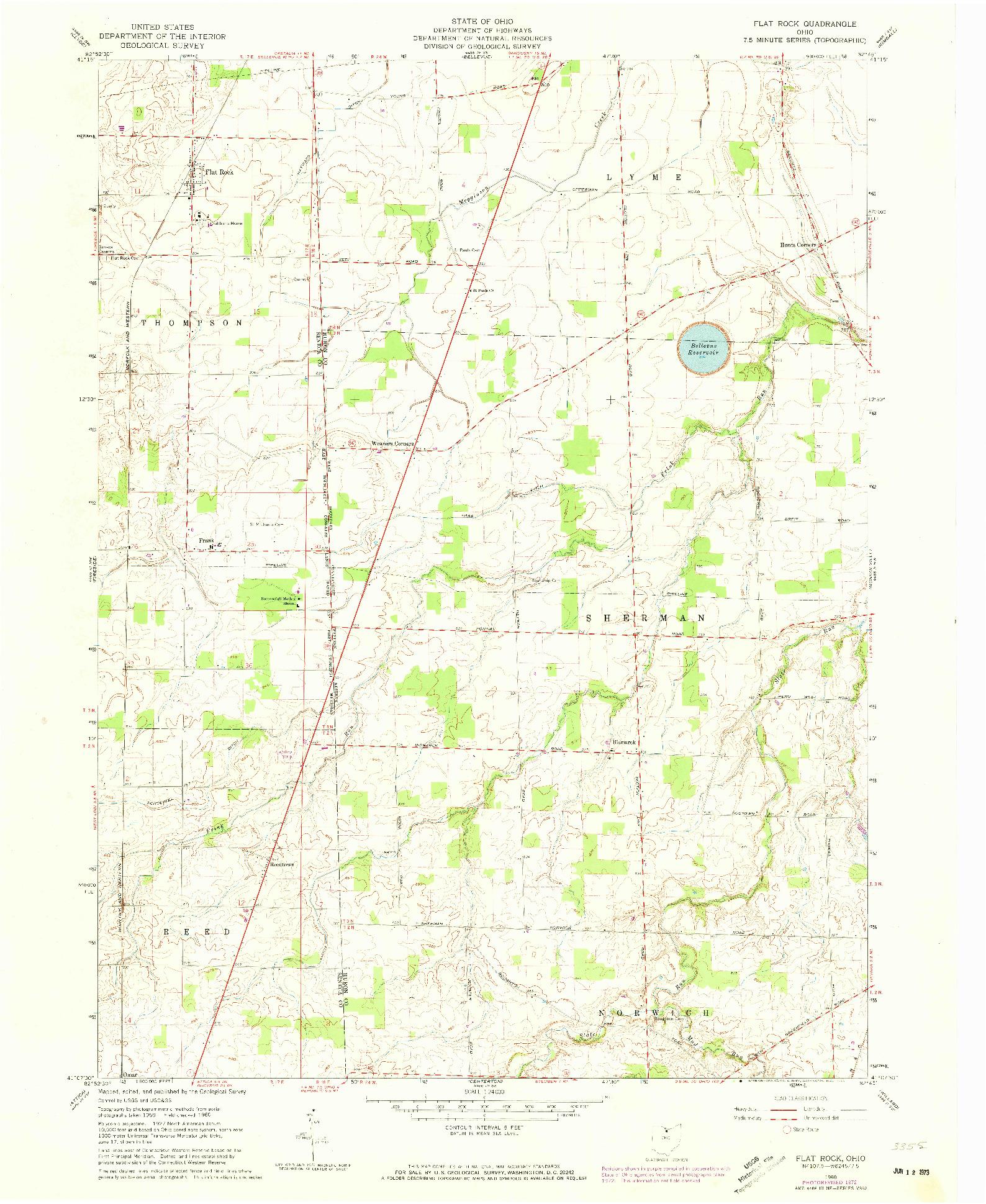 USGS 1:24000-SCALE QUADRANGLE FOR FLAT ROCK, OH 1960