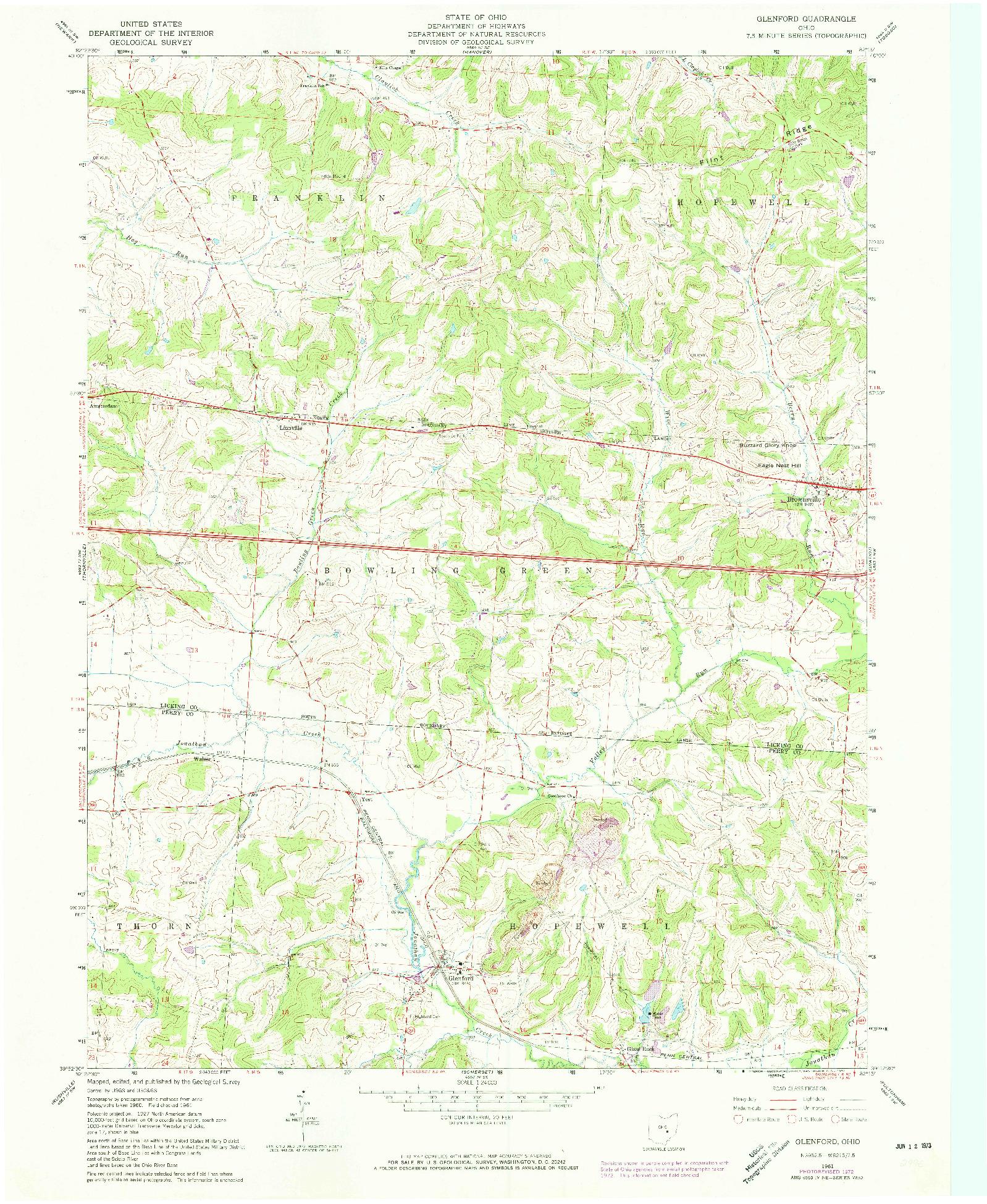 USGS 1:24000-SCALE QUADRANGLE FOR GLENFORD, OH 1961
