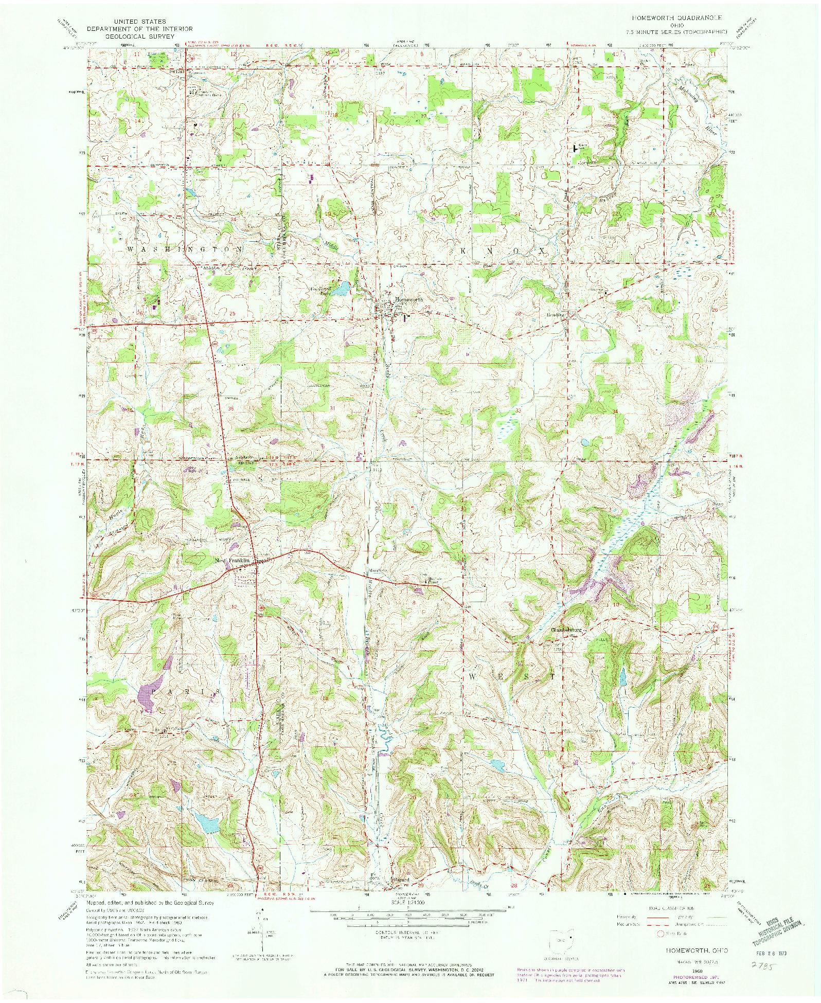 USGS 1:24000-SCALE QUADRANGLE FOR HOMEWORTH, OH 1960