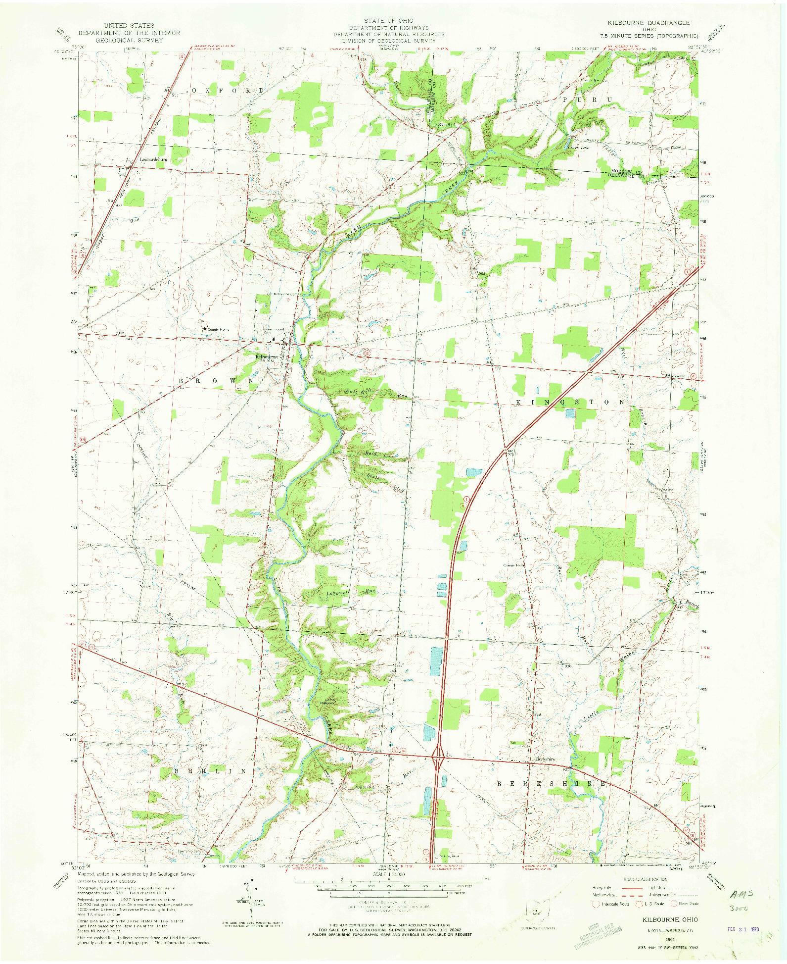 USGS 1:24000-SCALE QUADRANGLE FOR KILBOURNE, OH 1961