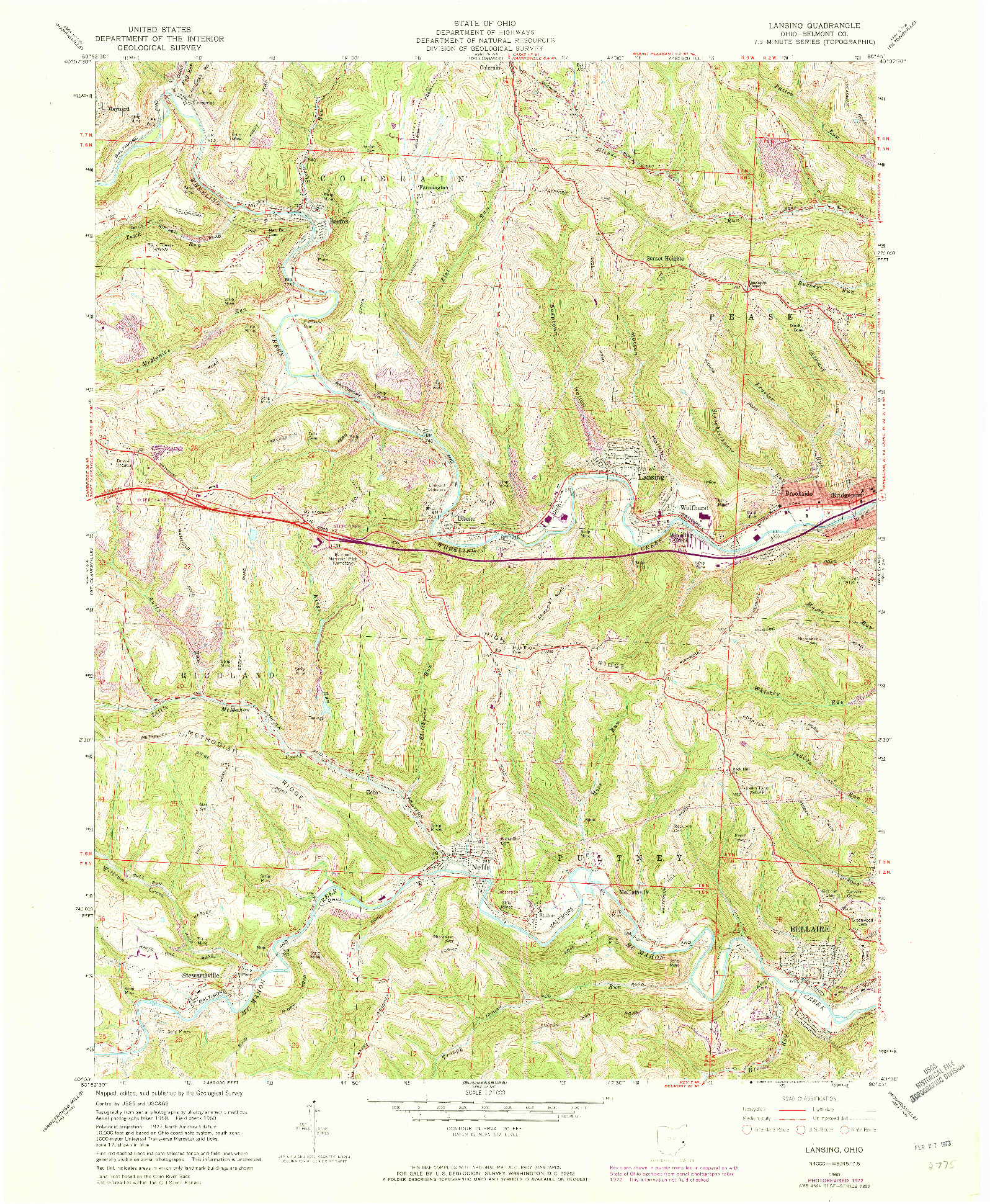 USGS 1:24000-SCALE QUADRANGLE FOR LANSING, OH 1960