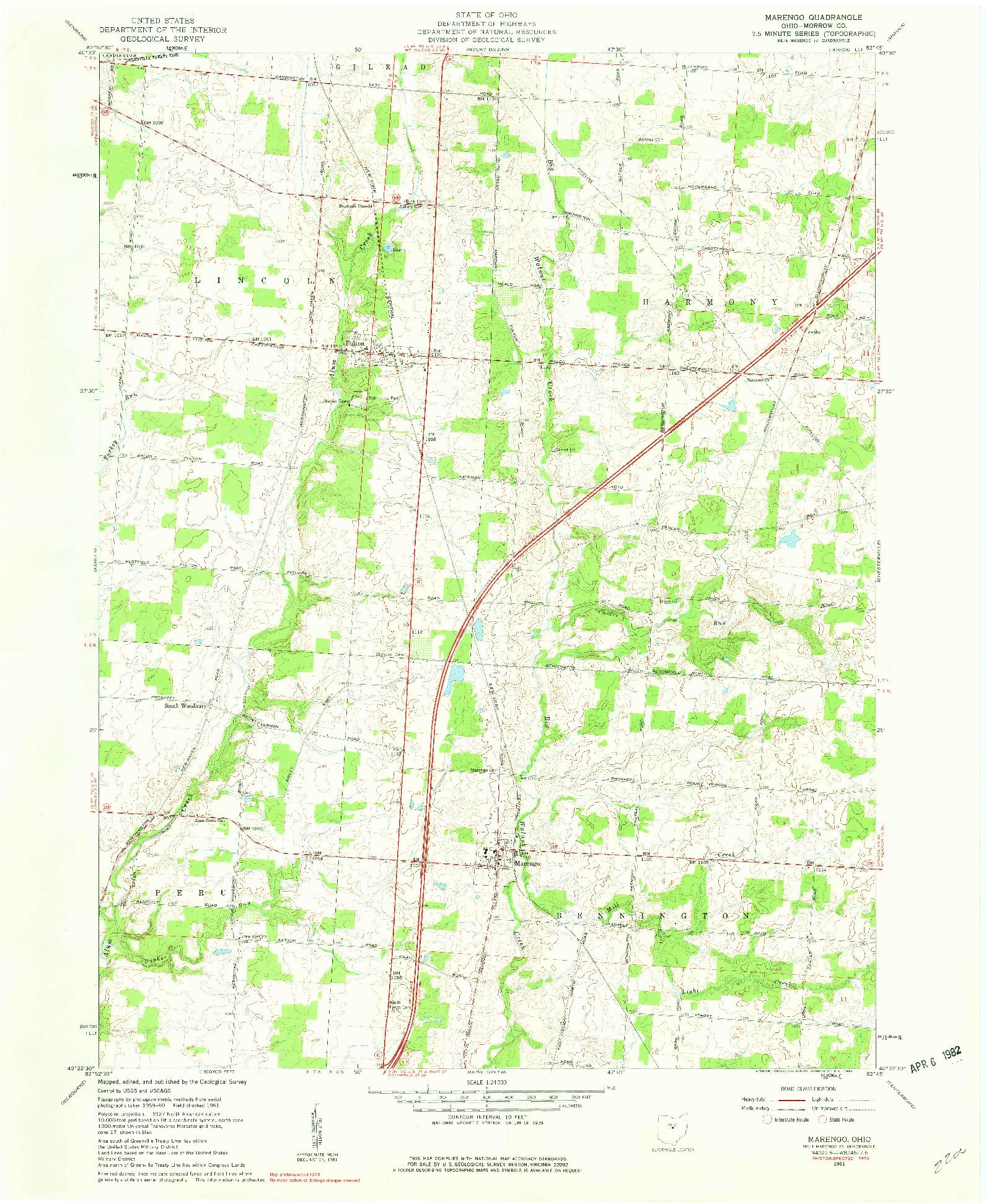 USGS 1:24000-SCALE QUADRANGLE FOR MARENGO, OH 1961