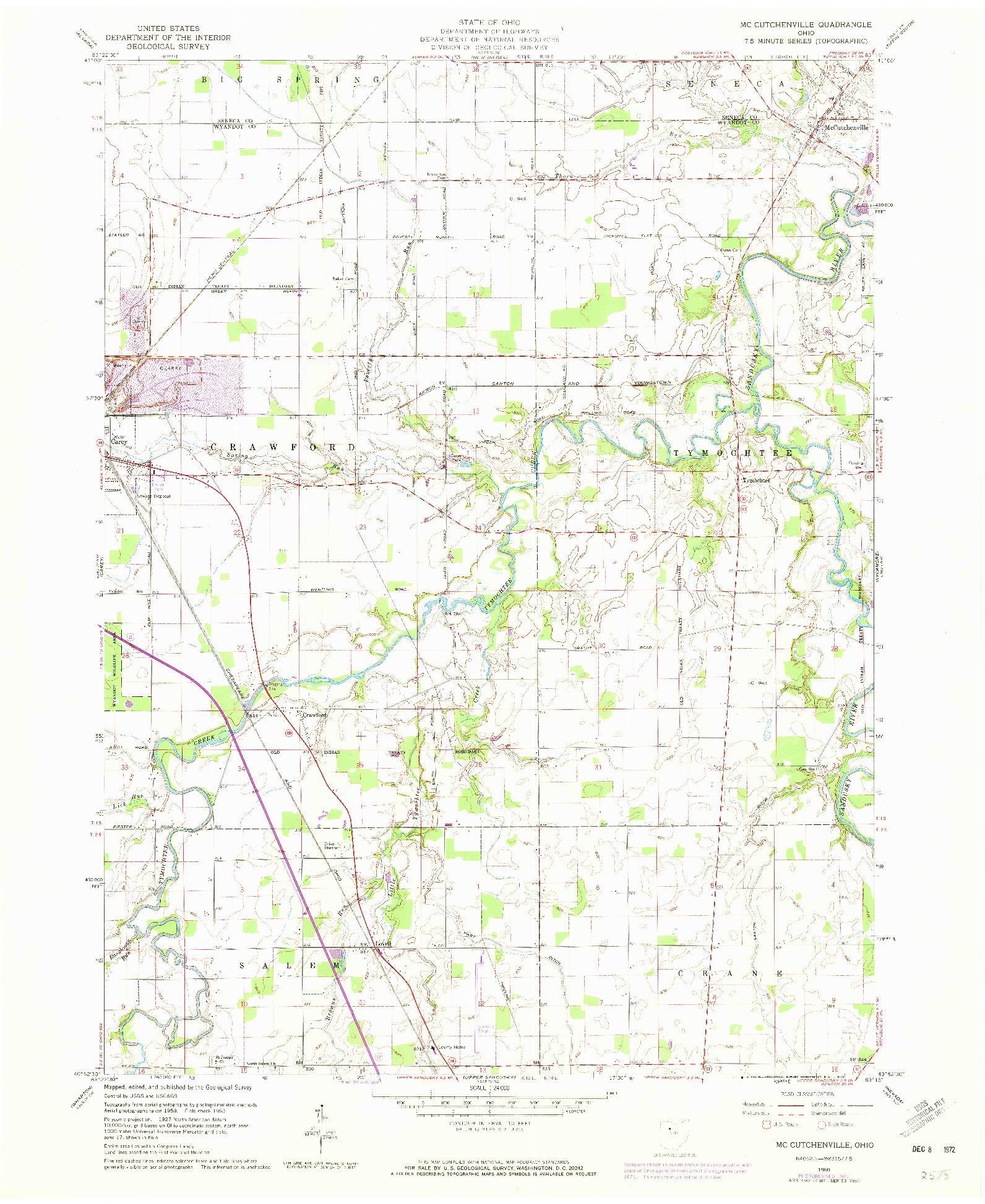 USGS 1:24000-SCALE QUADRANGLE FOR MC CUTCHENVILLE, OH 1960