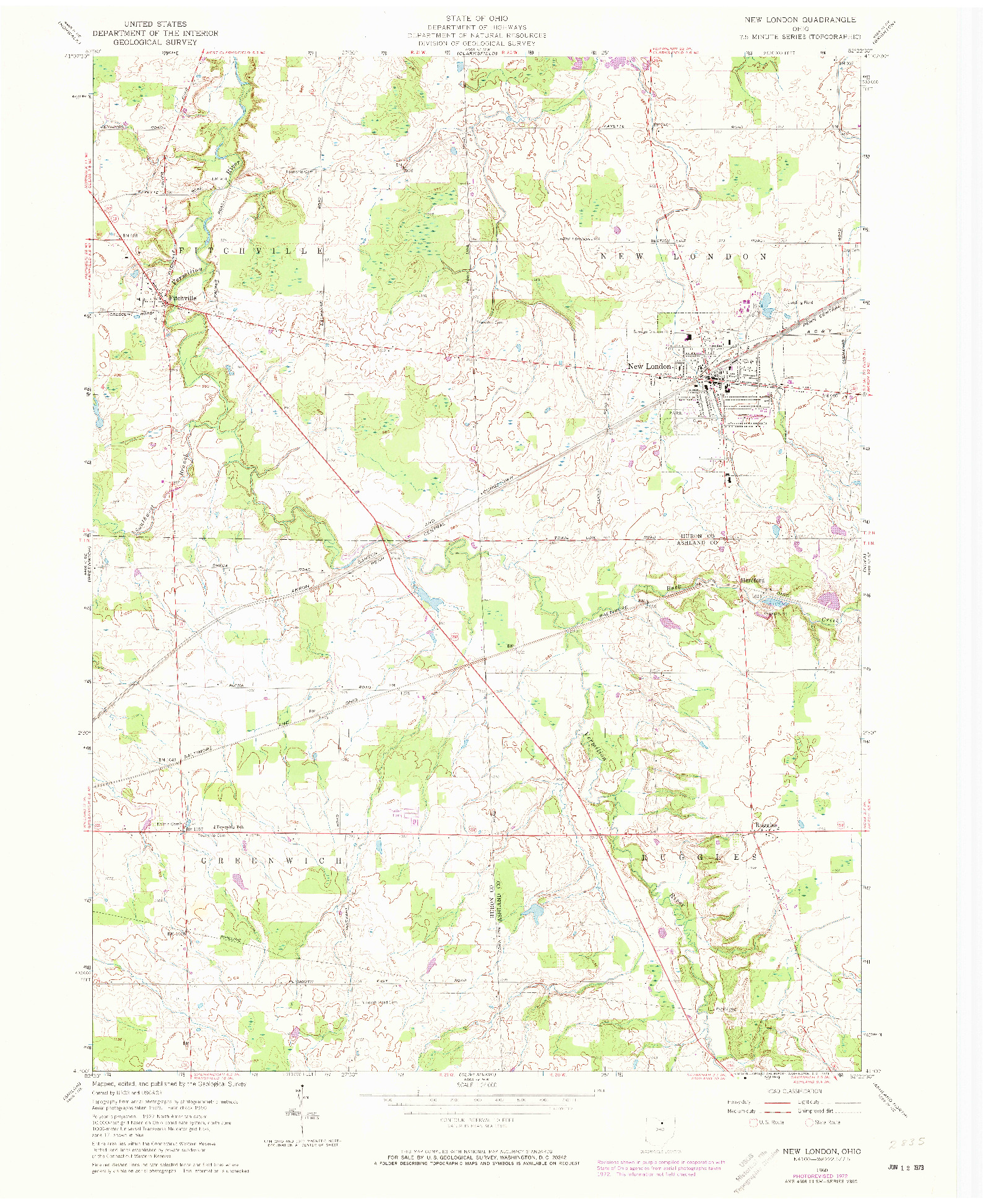 USGS 1:24000-SCALE QUADRANGLE FOR NEW LONDON, OH 1960