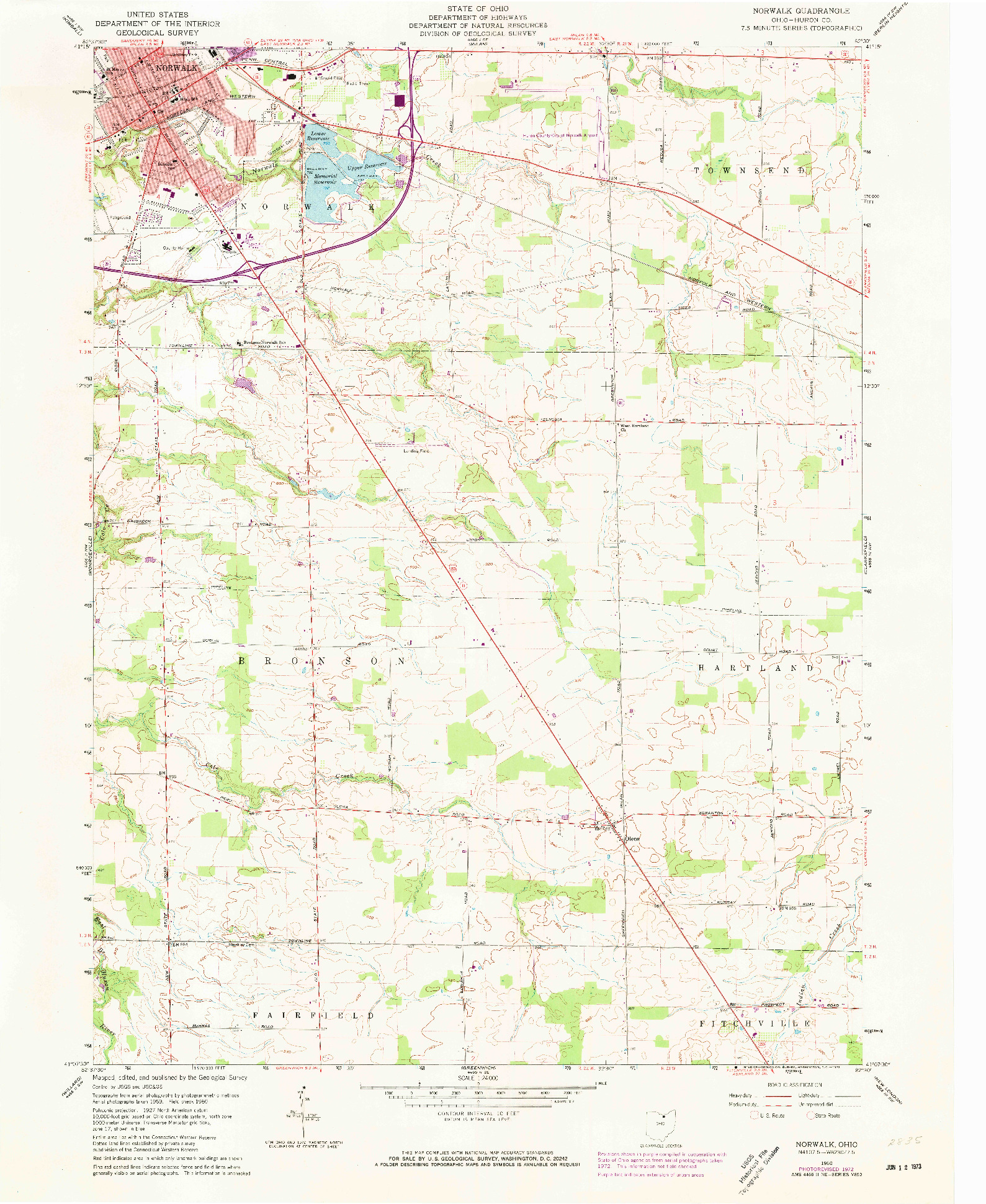USGS 1:24000-SCALE QUADRANGLE FOR NORWALK, OH 1960