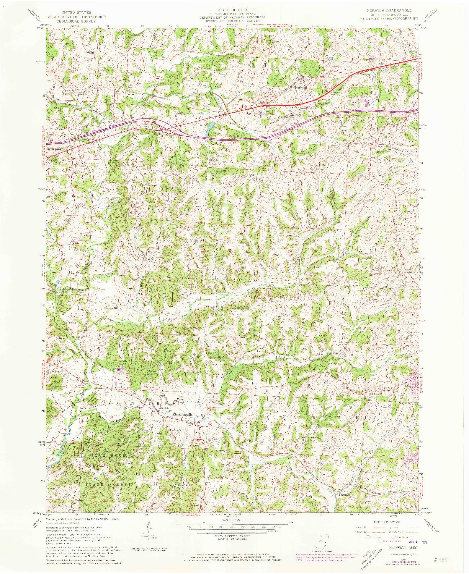 USGS 1:24000-SCALE QUADRANGLE FOR NORWICH, OH 1961
