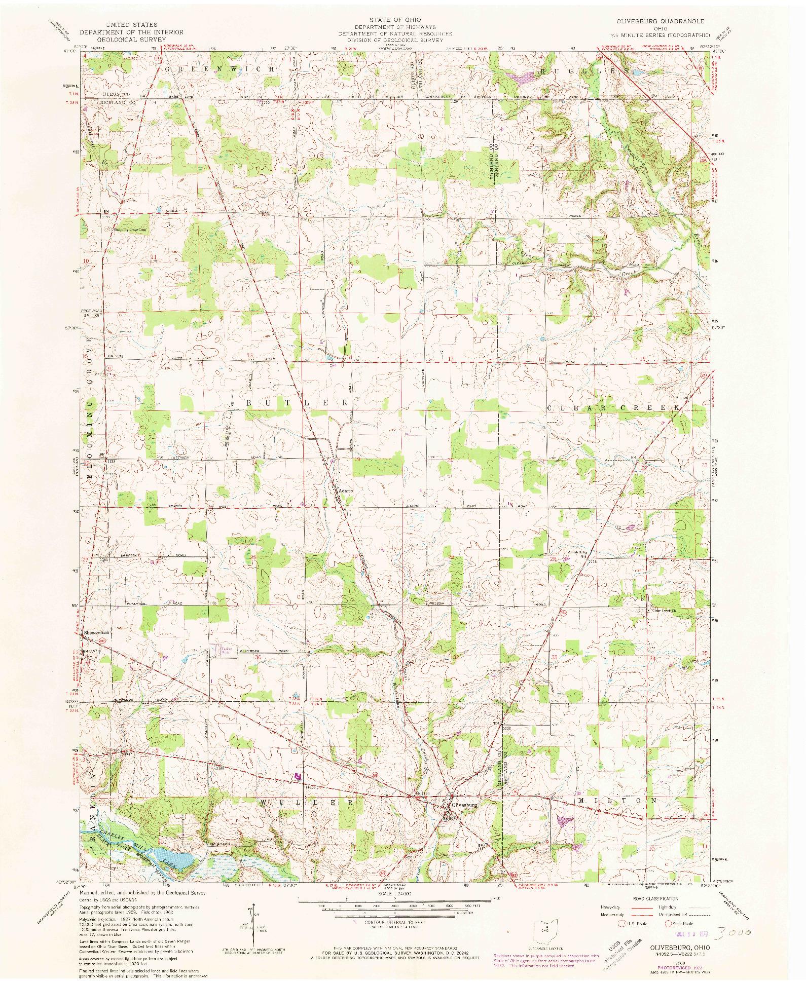 USGS 1:24000-SCALE QUADRANGLE FOR OLIVESBURG, OH 1960