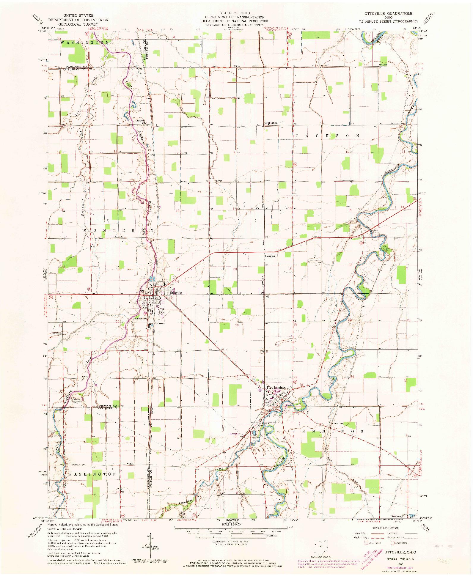 USGS 1:24000-SCALE QUADRANGLE FOR OTTOVILLE, OH 1960