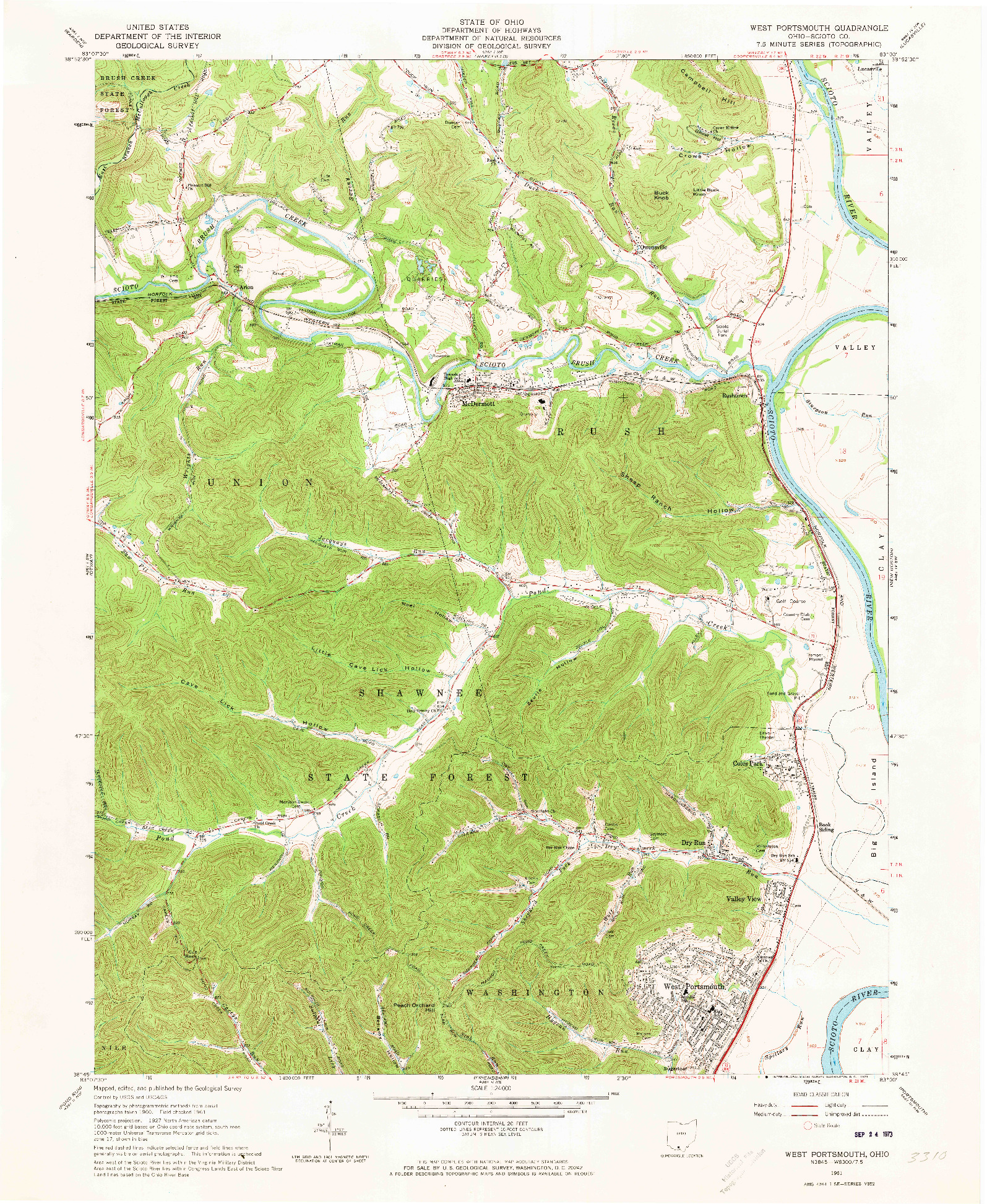 USGS 1:24000-SCALE QUADRANGLE FOR WEST PORTSMOUTH, OH 1961