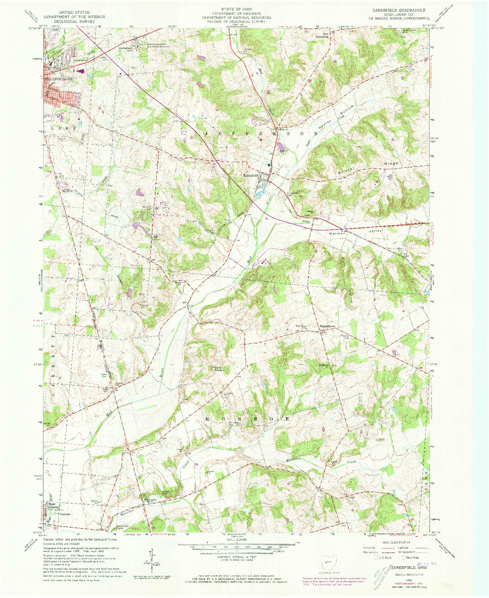USGS 1:24000-SCALE QUADRANGLE FOR ZANESFIELD, OH 1960
