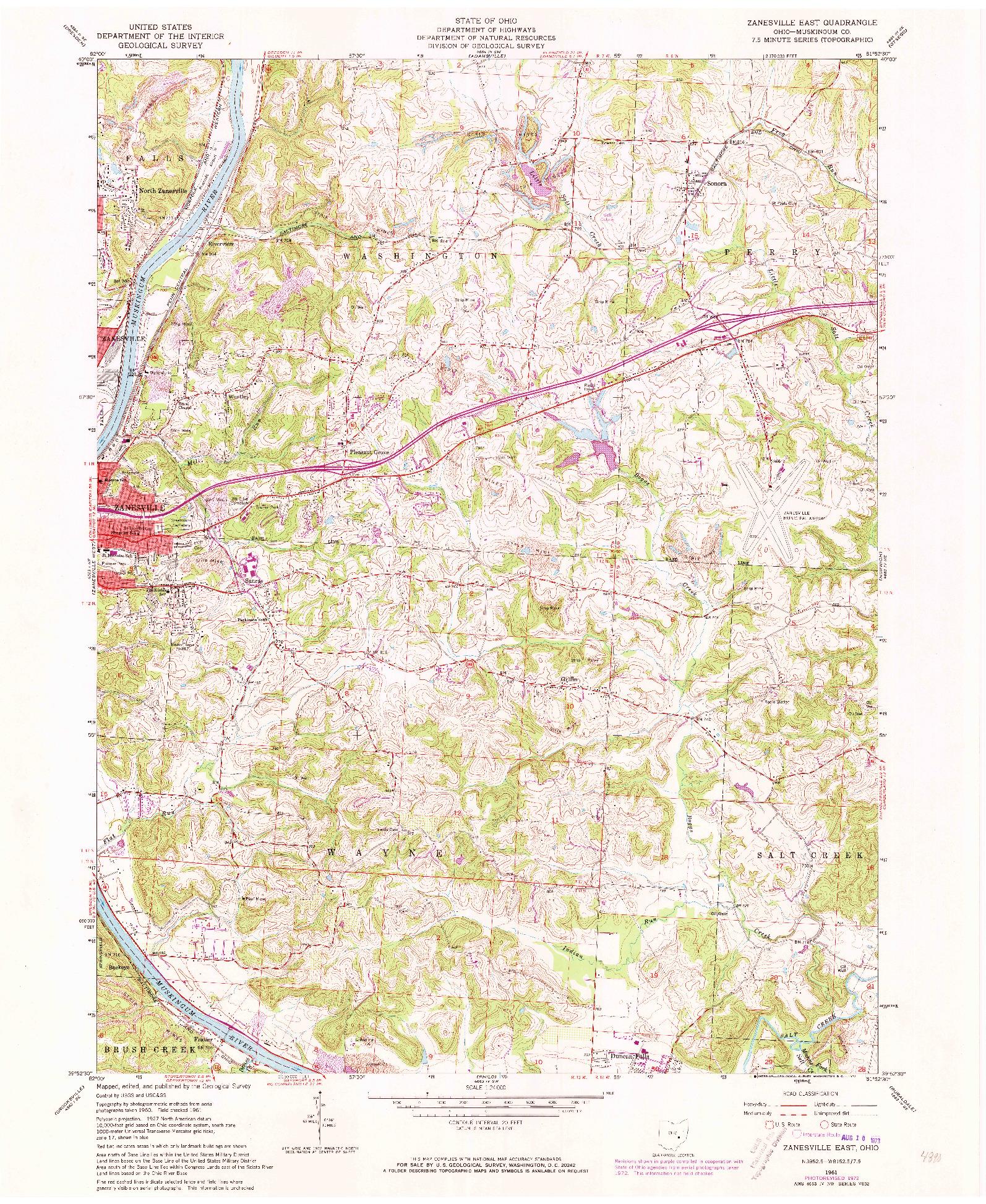 USGS 1:24000-SCALE QUADRANGLE FOR ZANESVILLE EAST, OH 1961