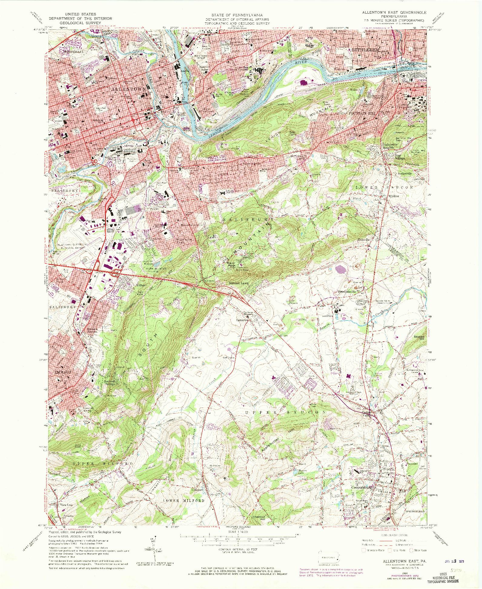 USGS 1:24000-SCALE QUADRANGLE FOR ALLENTOWN EAST, PA 1964