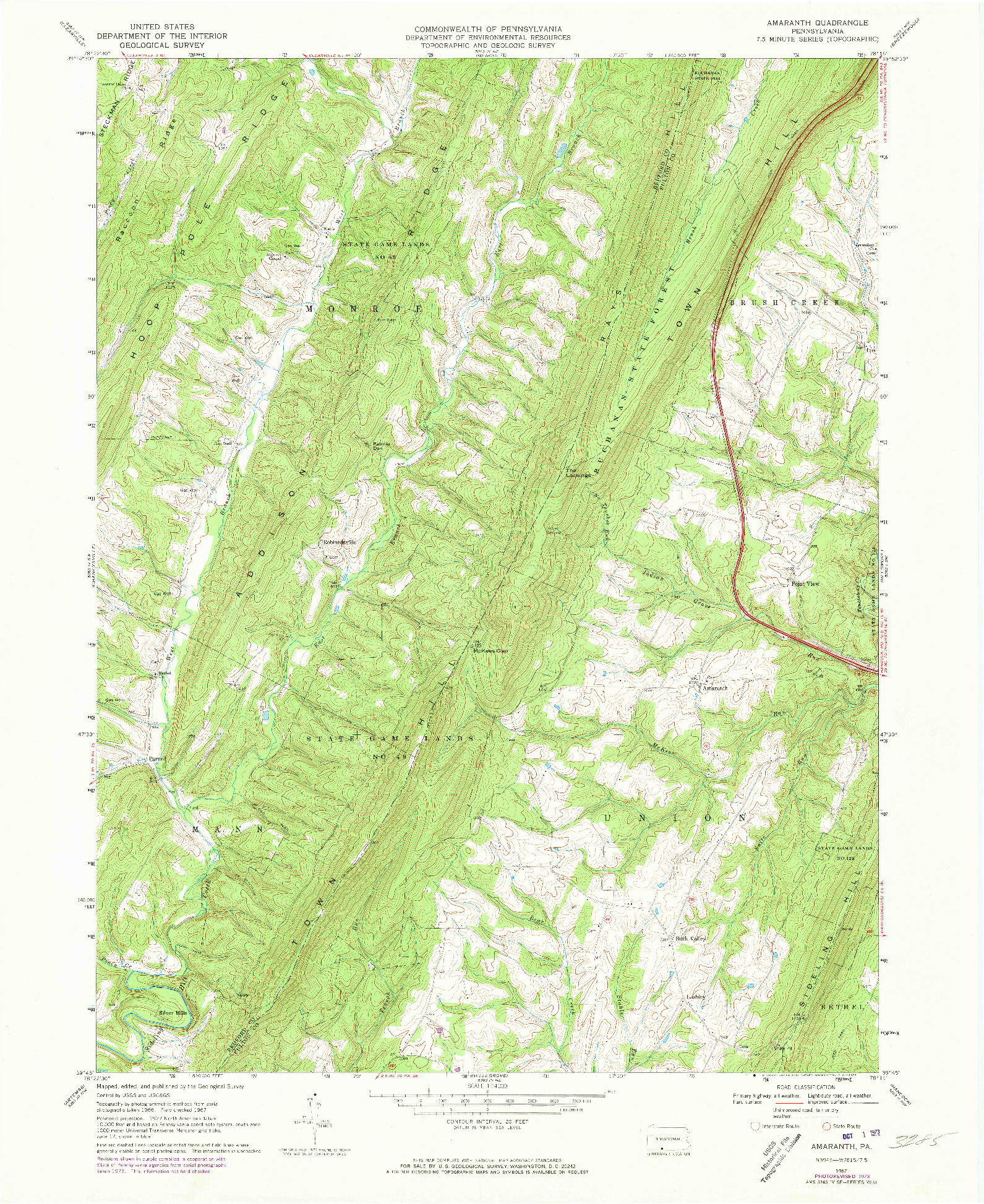 USGS 1:24000-SCALE QUADRANGLE FOR AMARANTH, PA 1967