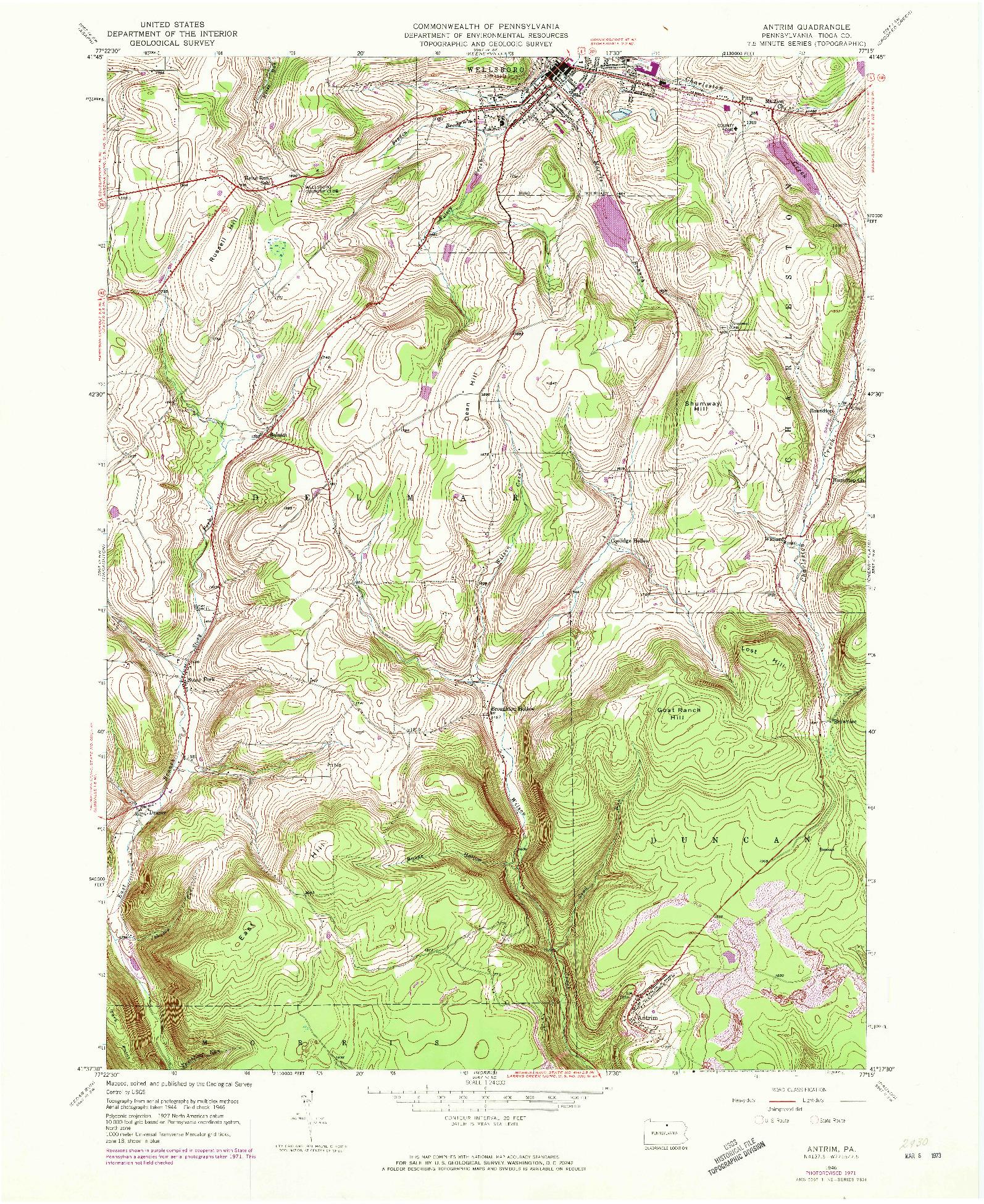 USGS 1:24000-SCALE QUADRANGLE FOR ANTRIM, PA 1946