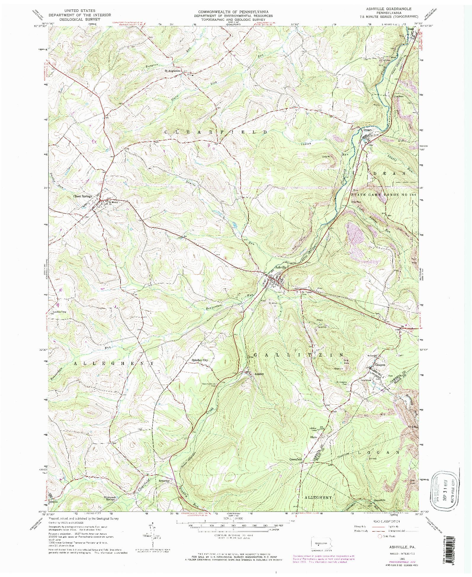 USGS 1:24000-SCALE QUADRANGLE FOR ASHVILLE, PA 1961
