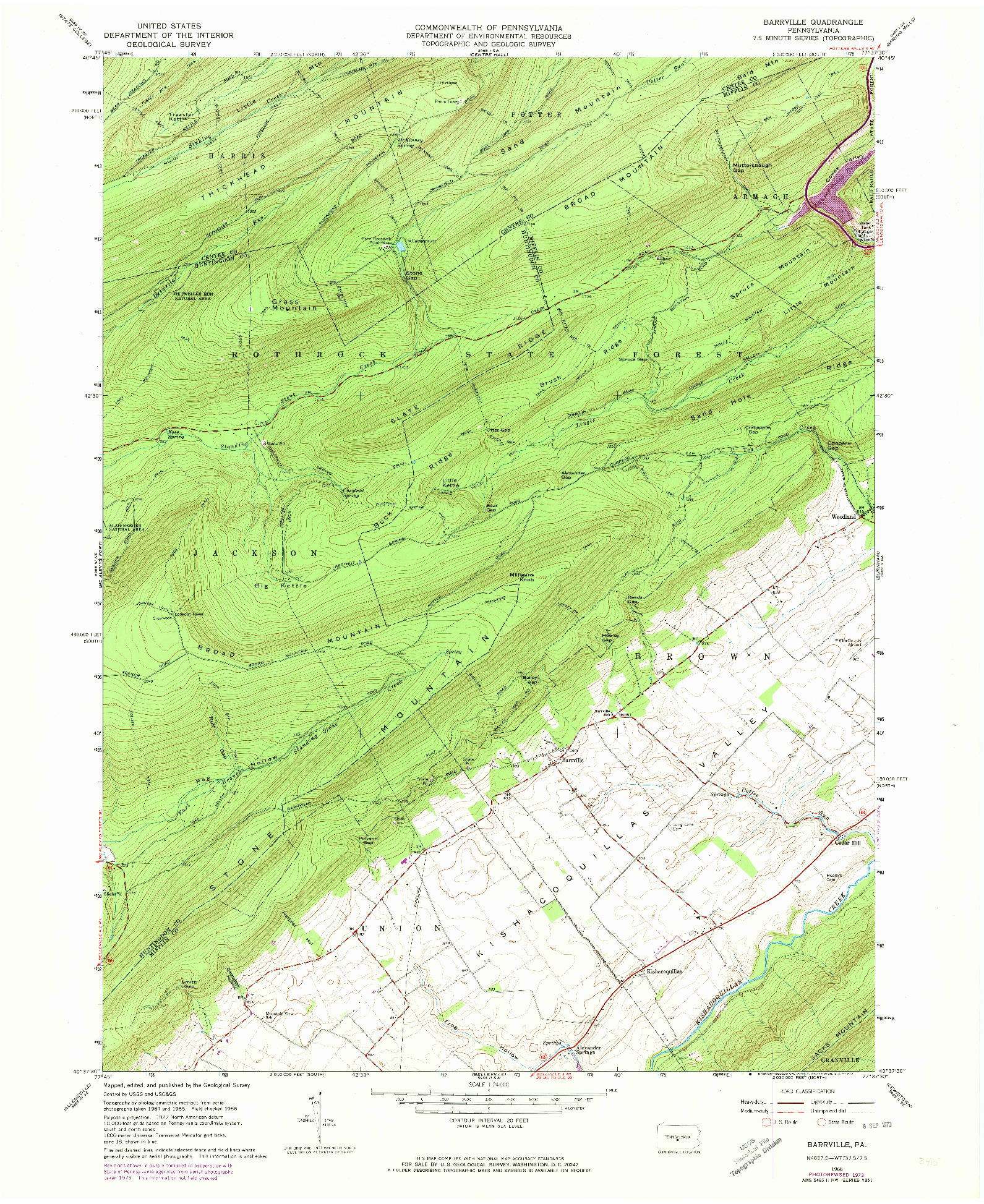USGS 1:24000-SCALE QUADRANGLE FOR BARRVILLE, PA 1966