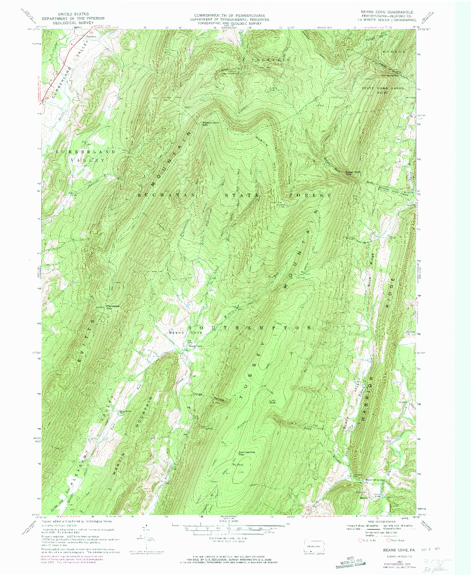 USGS 1:24000-SCALE QUADRANGLE FOR BEANS COVE, PA 1967