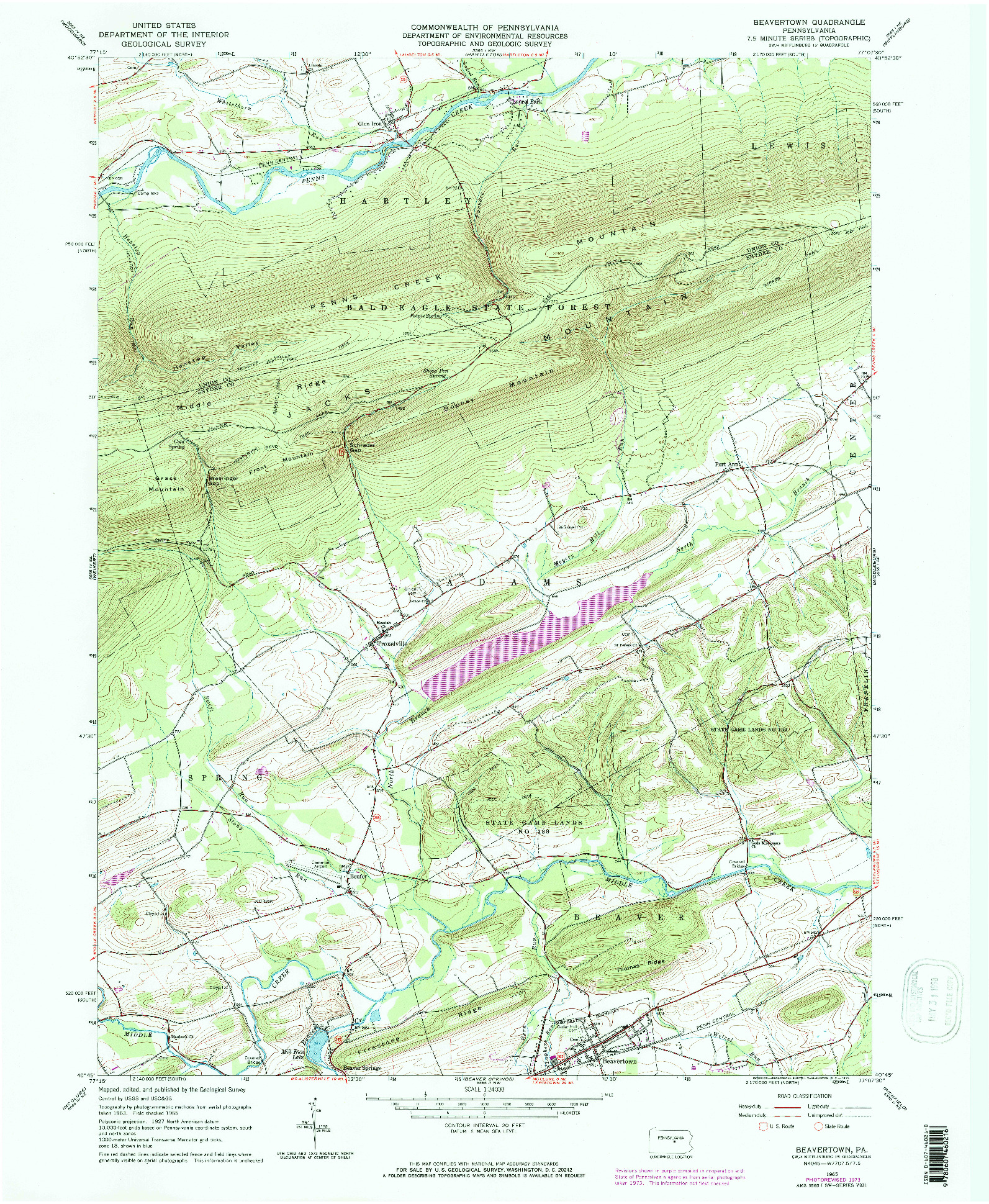 USGS 1:24000-SCALE QUADRANGLE FOR BEAVERTOWN, PA 1965