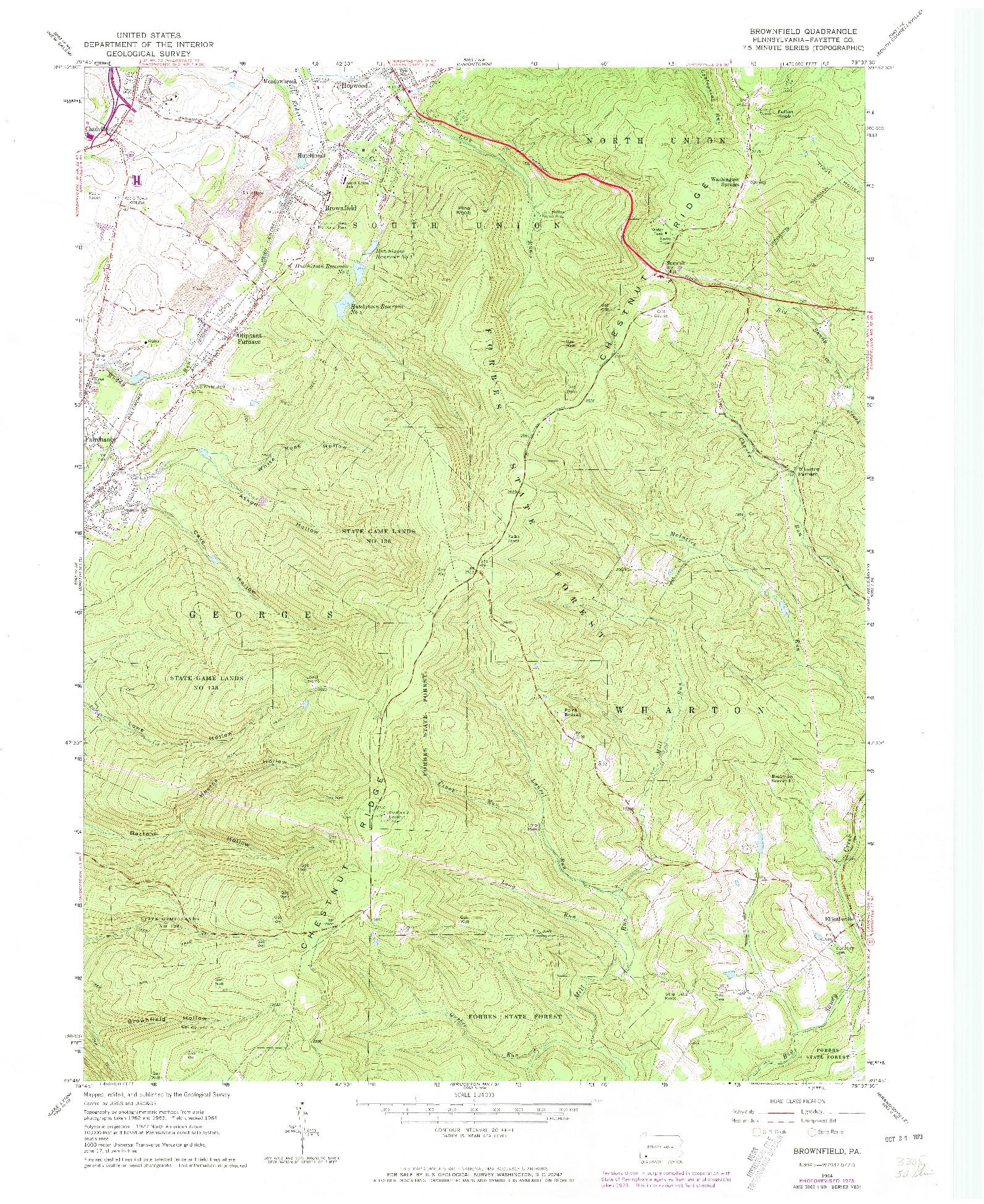 USGS 1:24000-SCALE QUADRANGLE FOR BROWNFIELD, PA 1973