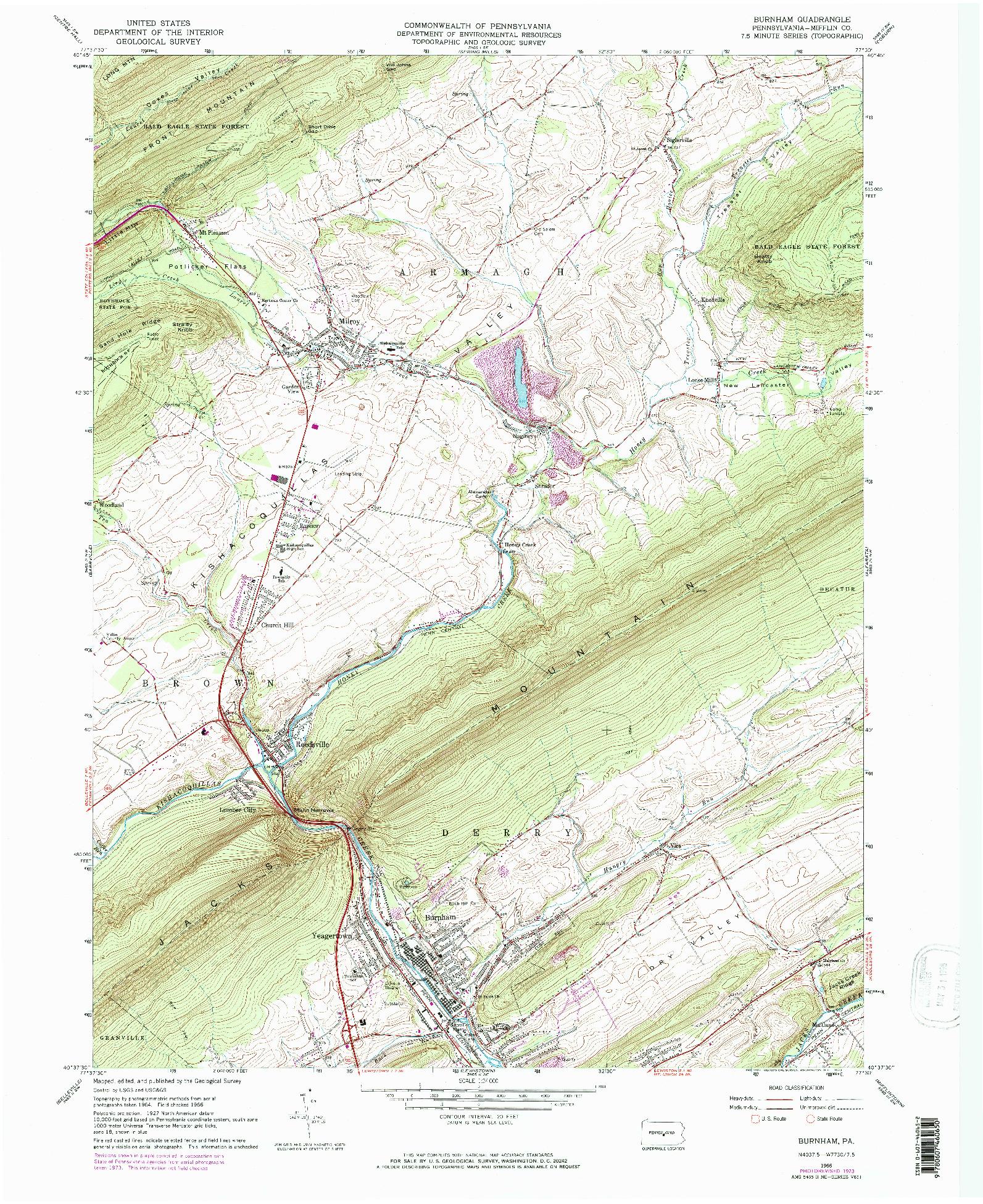 USGS 1:24000-SCALE QUADRANGLE FOR BURNHAM, PA 1966