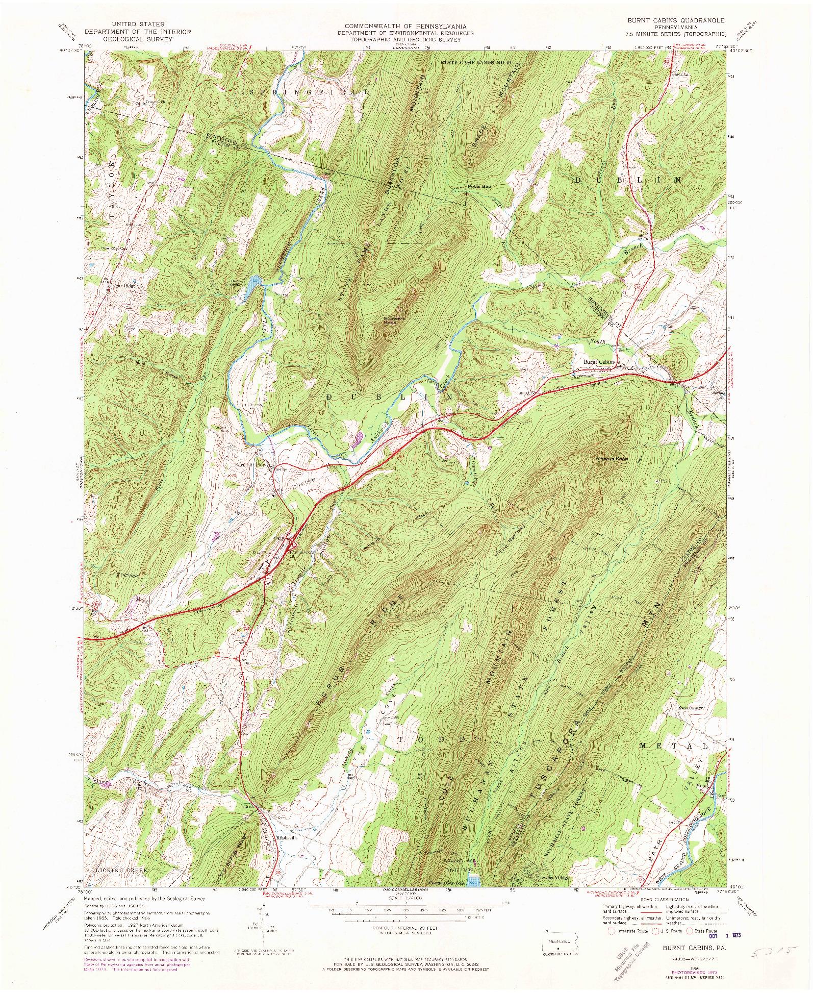 USGS 1:24000-SCALE QUADRANGLE FOR BURNT CABINS, PA 1966
