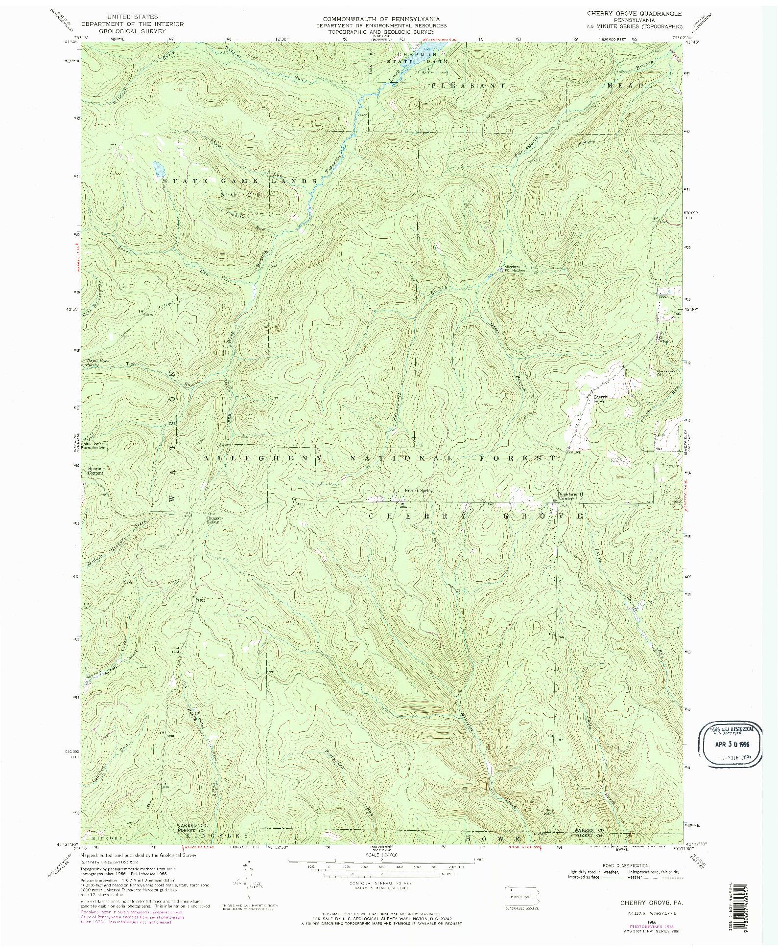 USGS 1:24000-SCALE QUADRANGLE FOR CHERRY GROVE, PA 1966