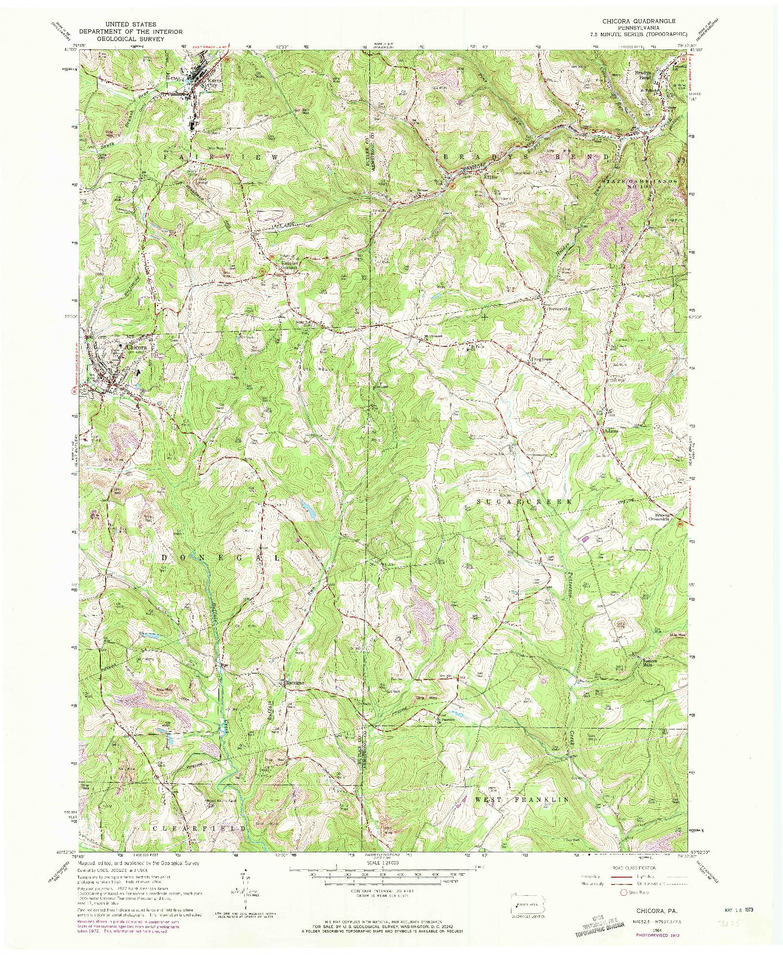 USGS 1:24000-SCALE QUADRANGLE FOR CHICORA, PA 1964