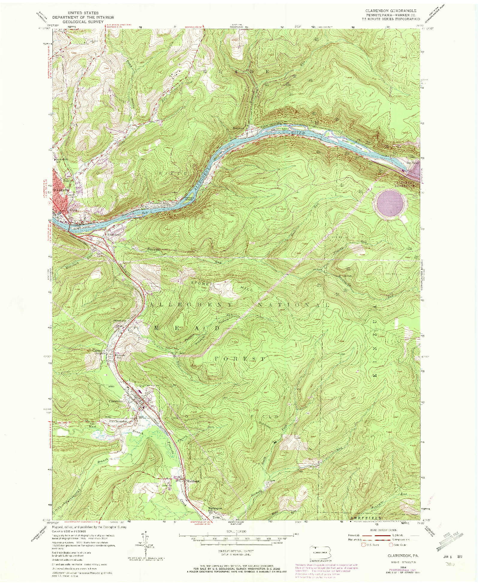 USGS 1:24000-SCALE QUADRANGLE FOR CLARENDON, PA 1954