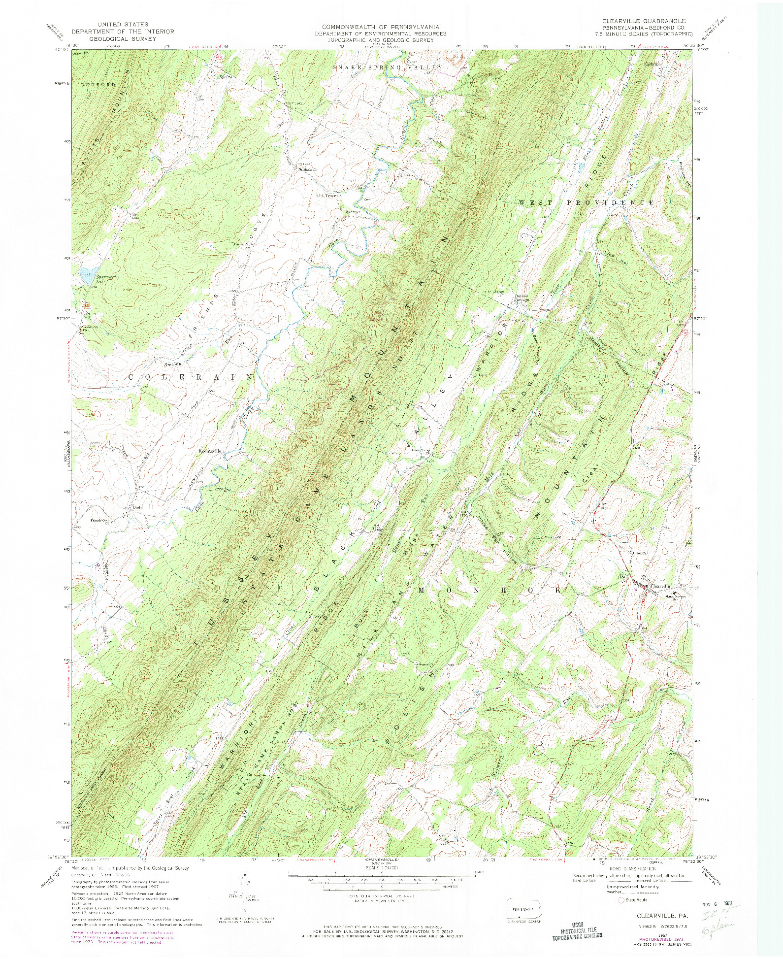 USGS 1:24000-SCALE QUADRANGLE FOR CLEARVILLE, PA 1967