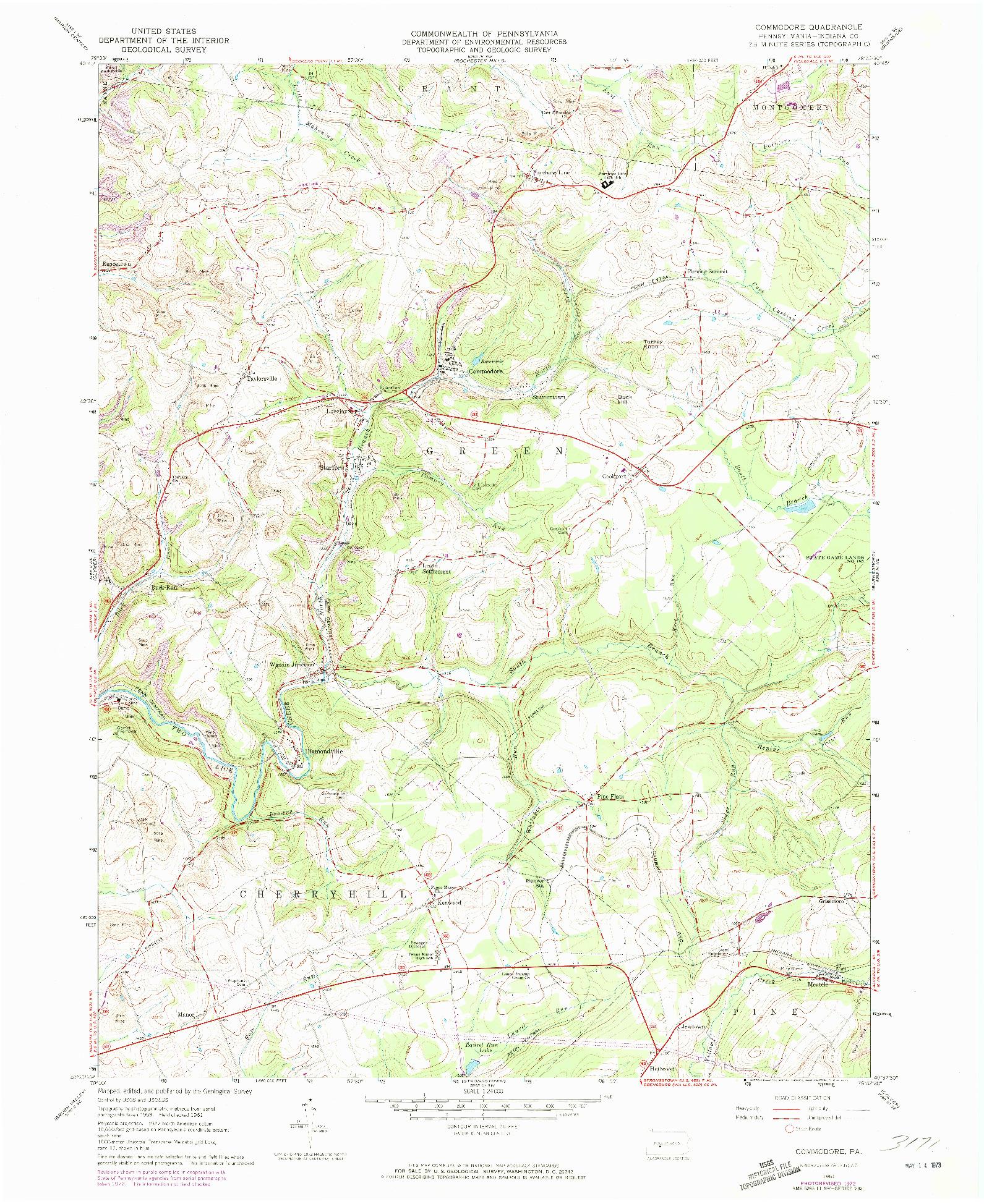 USGS 1:24000-SCALE QUADRANGLE FOR COMMODORE, PA 1961