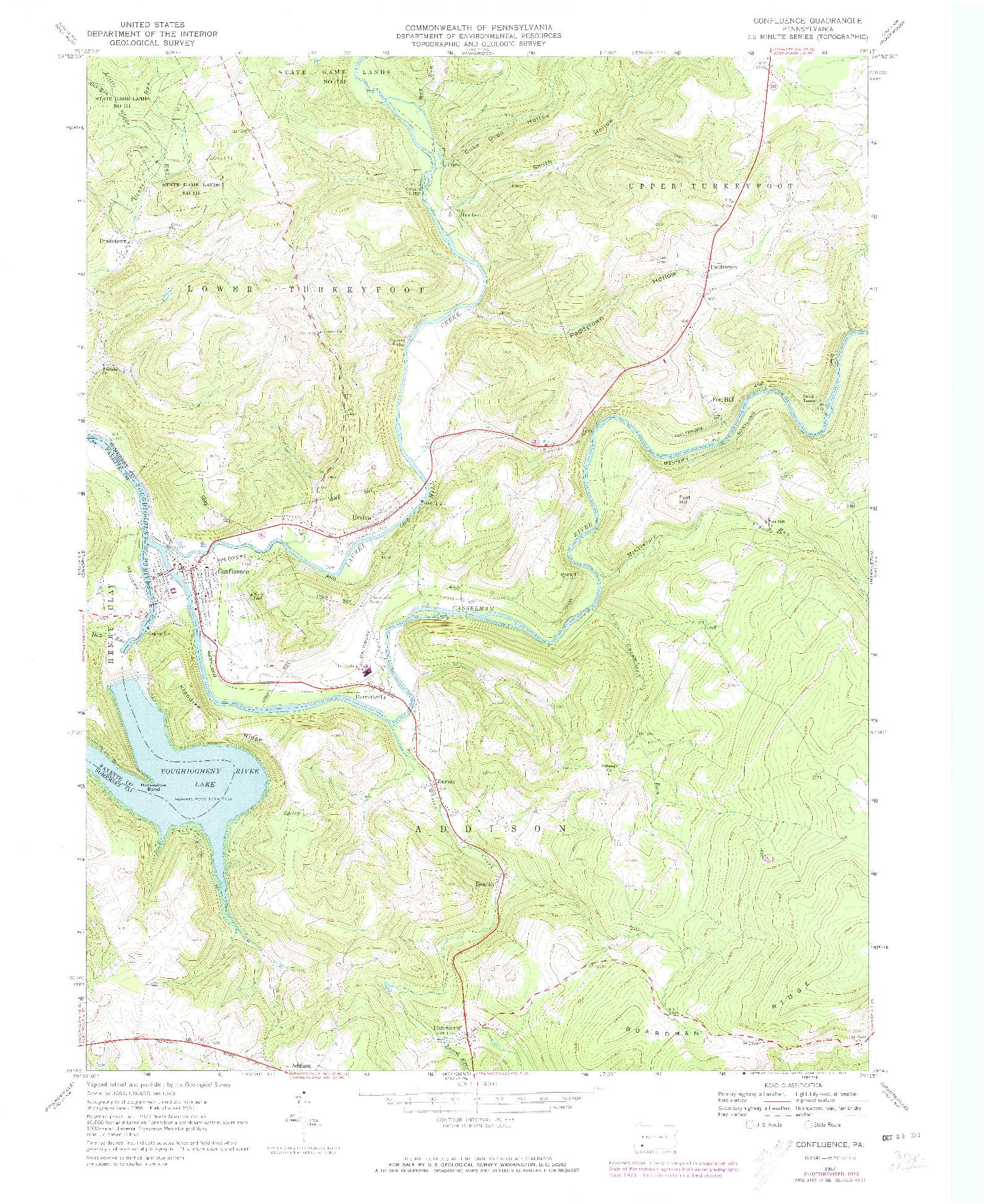 USGS 1:24000-SCALE QUADRANGLE FOR CONFLUENCE, PA 1967