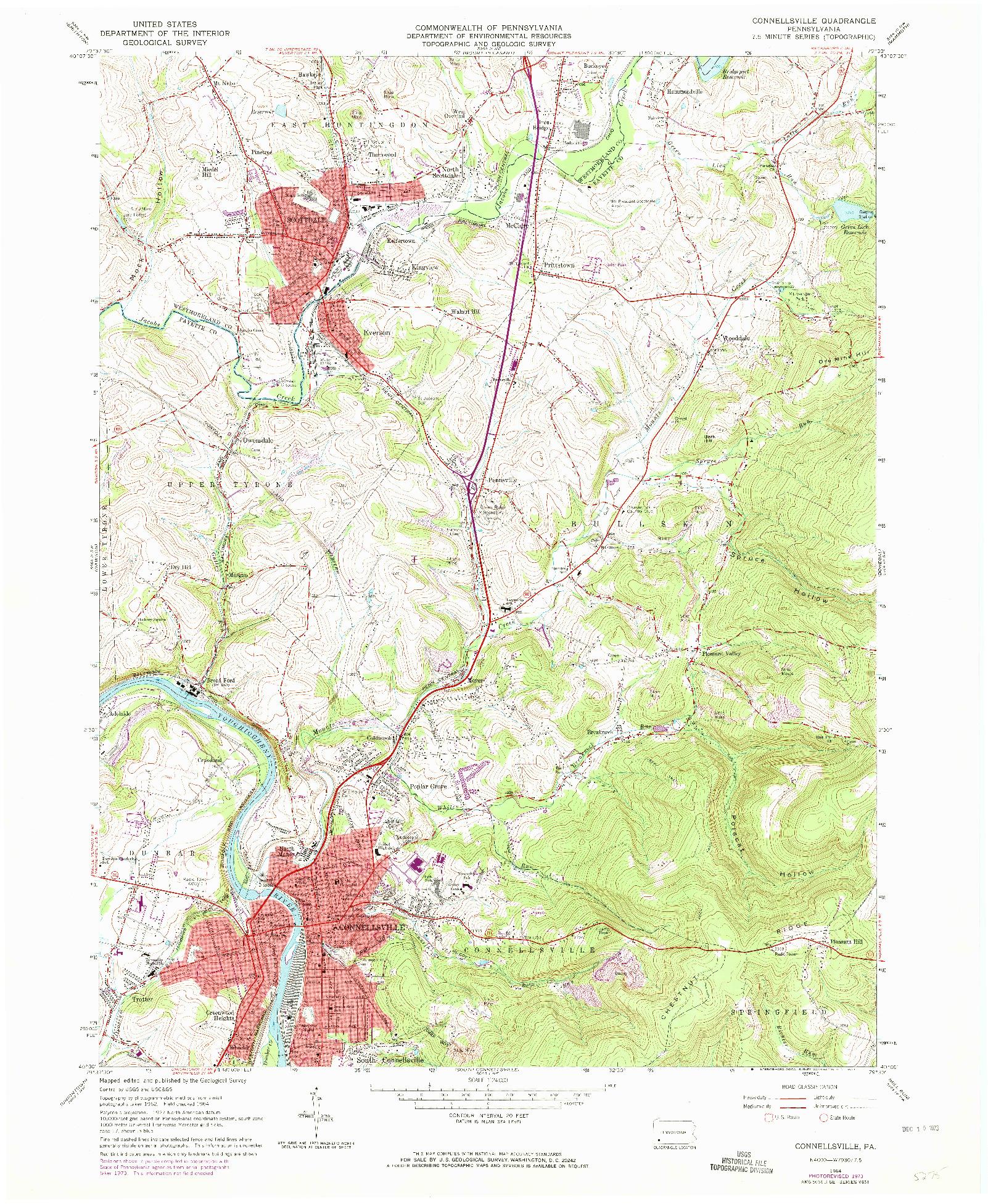 USGS 1:24000-SCALE QUADRANGLE FOR CONNELLSVILLE, PA 1964