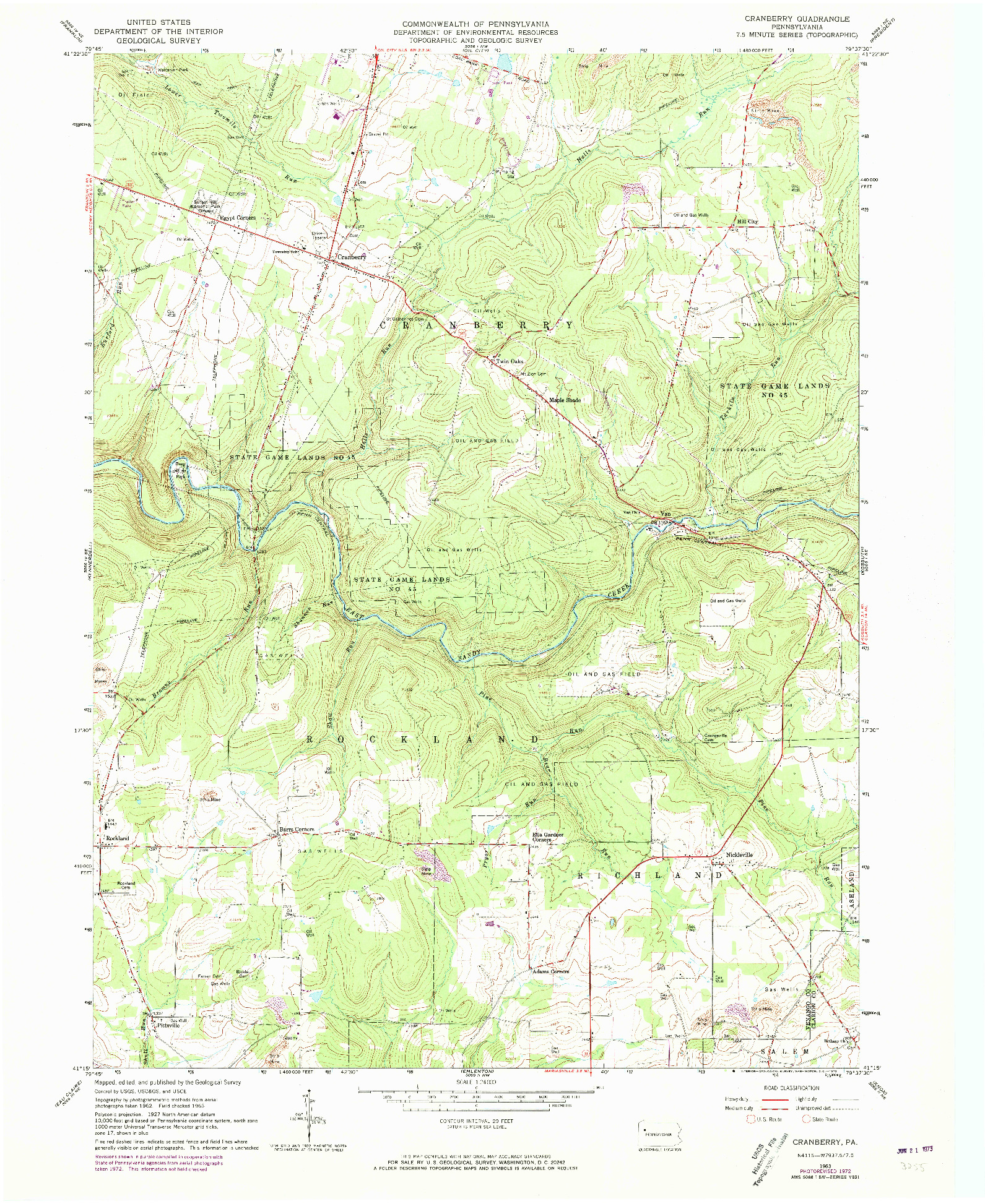 USGS 1:24000-SCALE QUADRANGLE FOR CRANBERRY, PA 1963