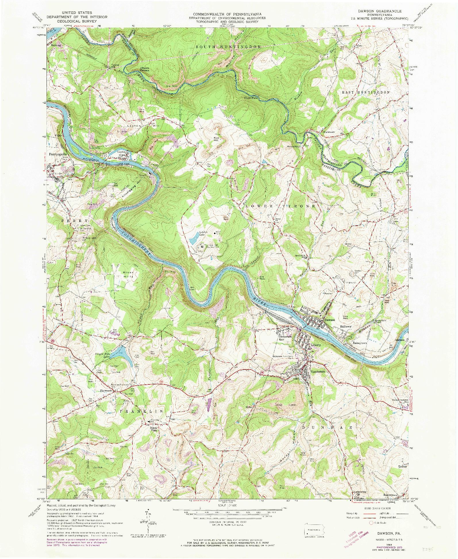 USGS 1:24000-SCALE QUADRANGLE FOR DAWSON, PA 1964