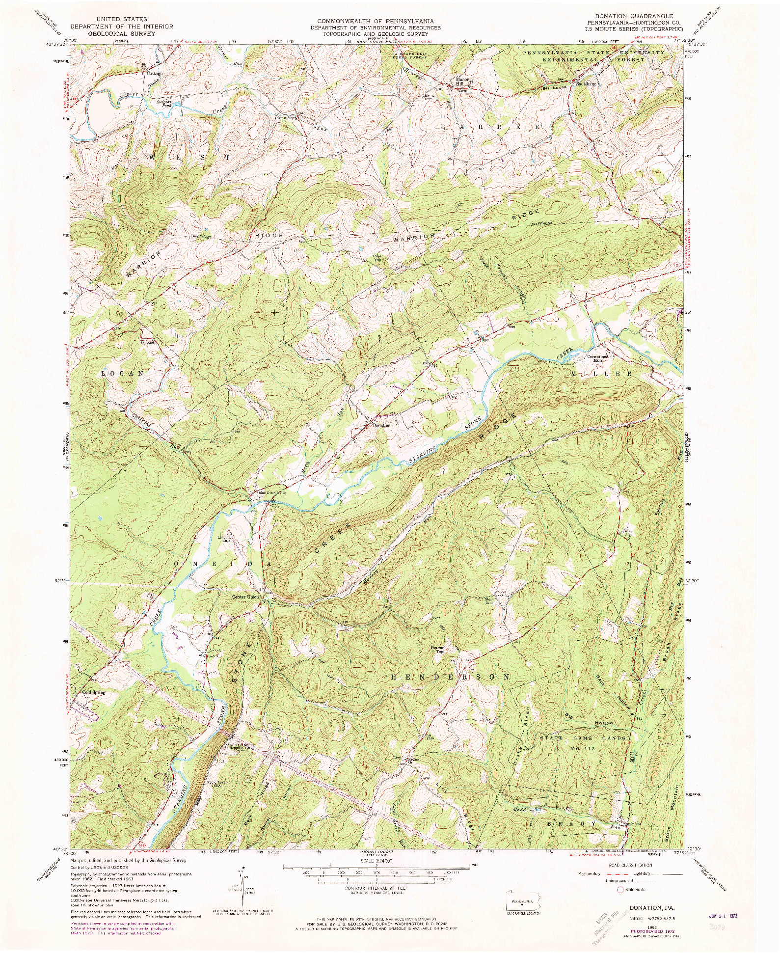 USGS 1:24000-SCALE QUADRANGLE FOR DONATION, PA 1963