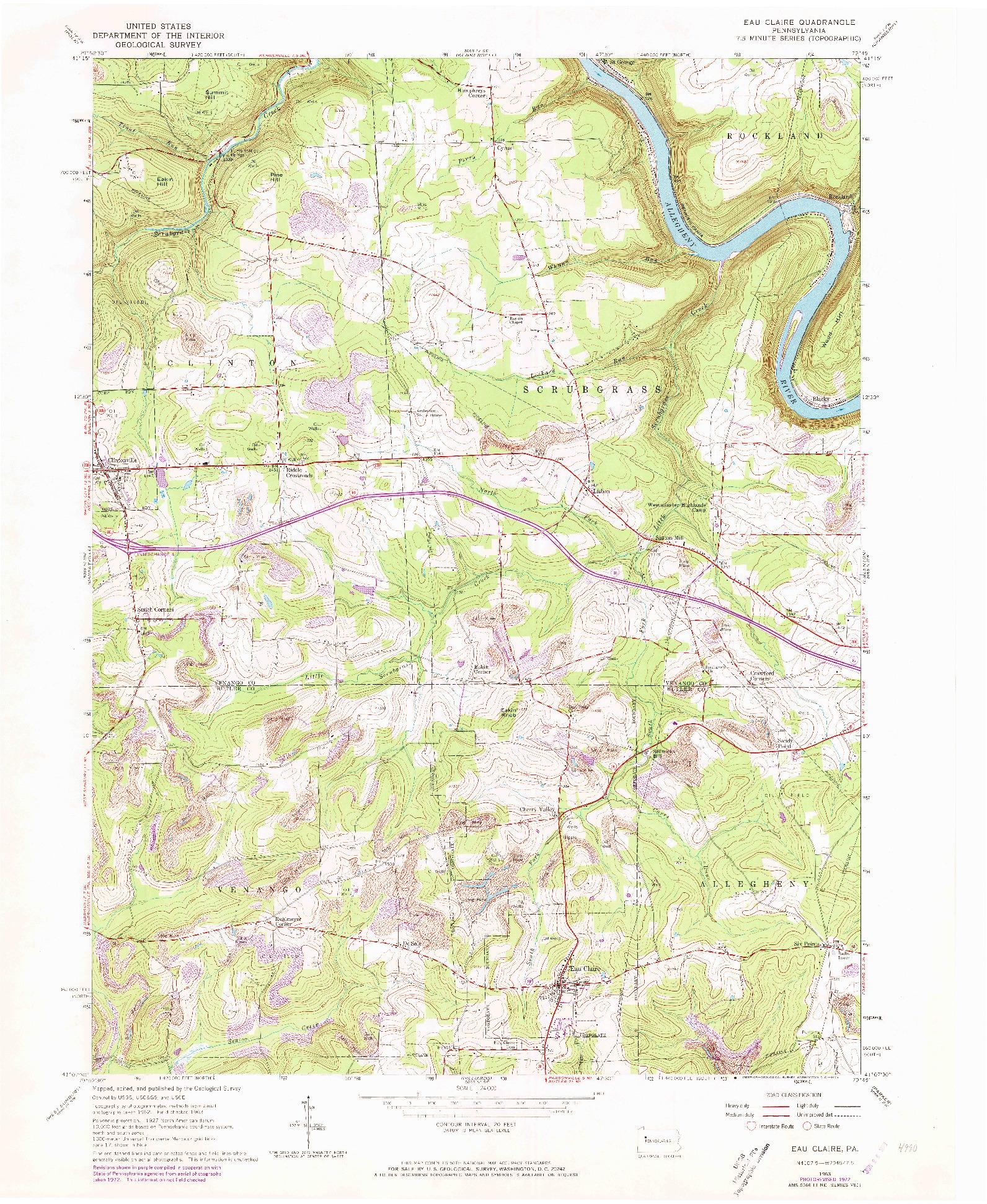 USGS 1:24000-SCALE QUADRANGLE FOR EAU CLAIRE, PA 1963