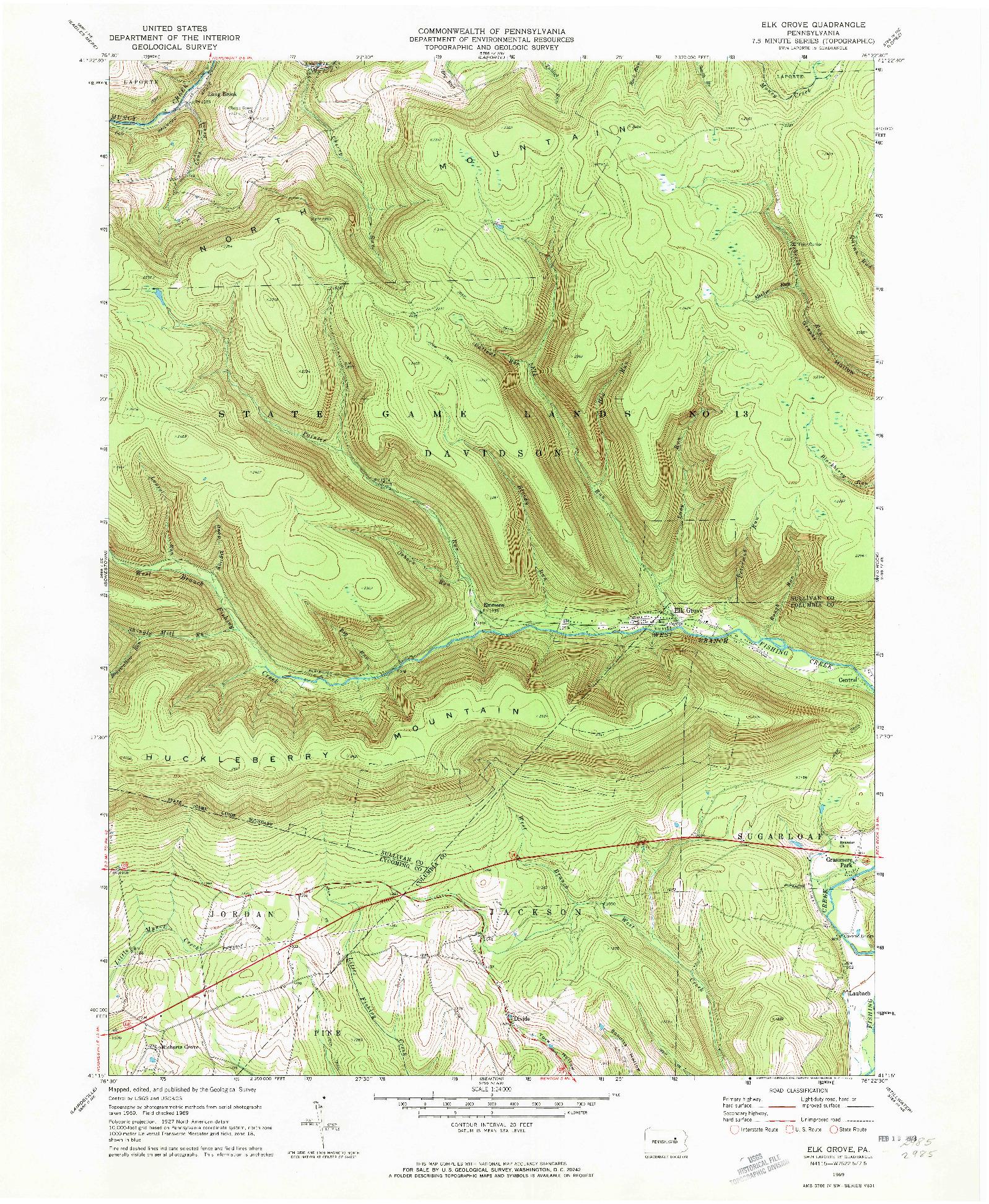 USGS 1:24000-SCALE QUADRANGLE FOR ELK GROVE, PA 1969