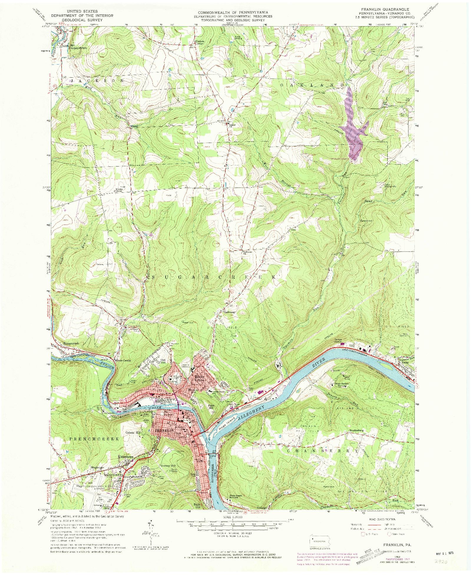 USGS 1:24000-SCALE QUADRANGLE FOR FRANKLIN, PA 1963