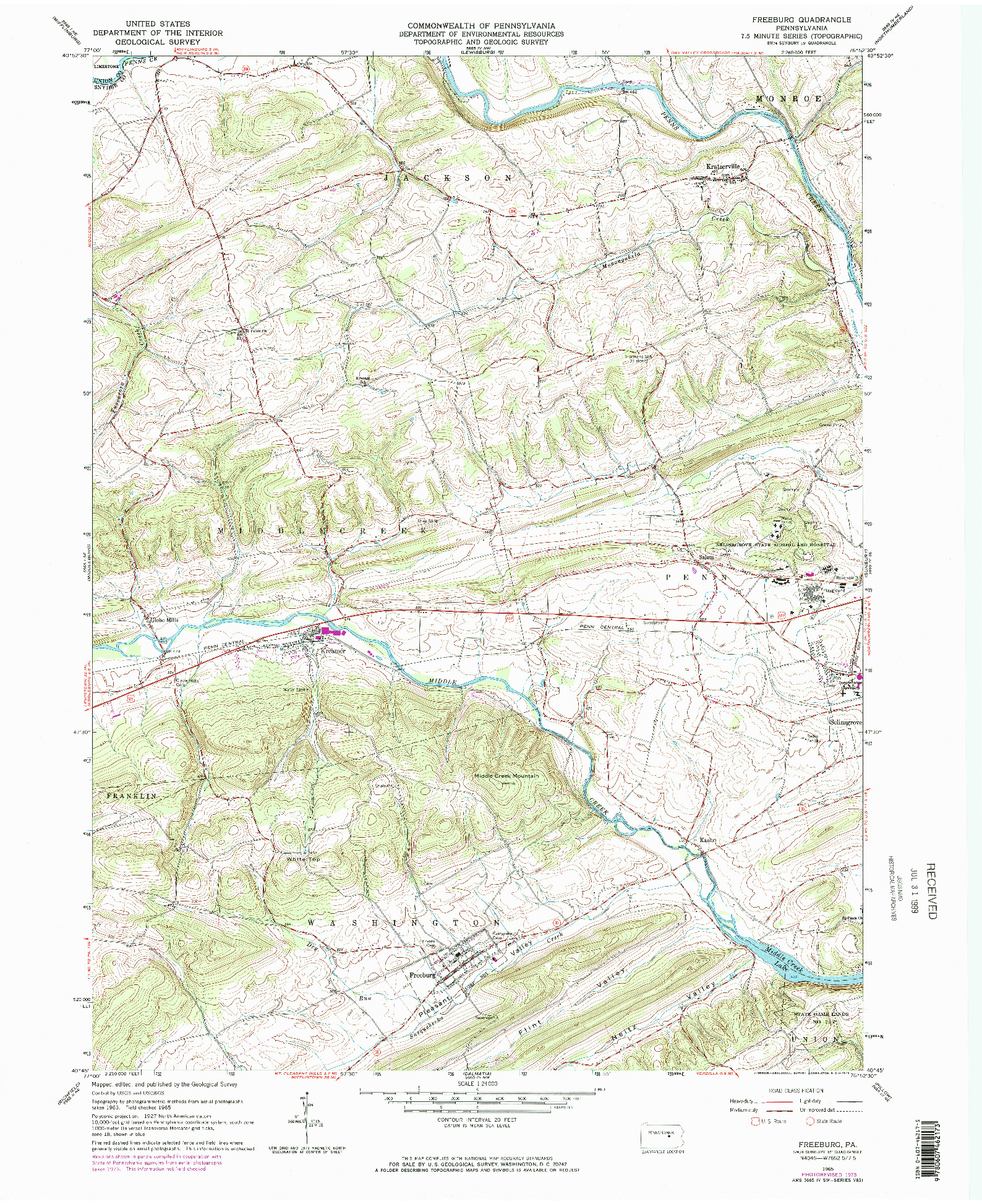USGS 1:24000-SCALE QUADRANGLE FOR FREEBURG, PA 1965