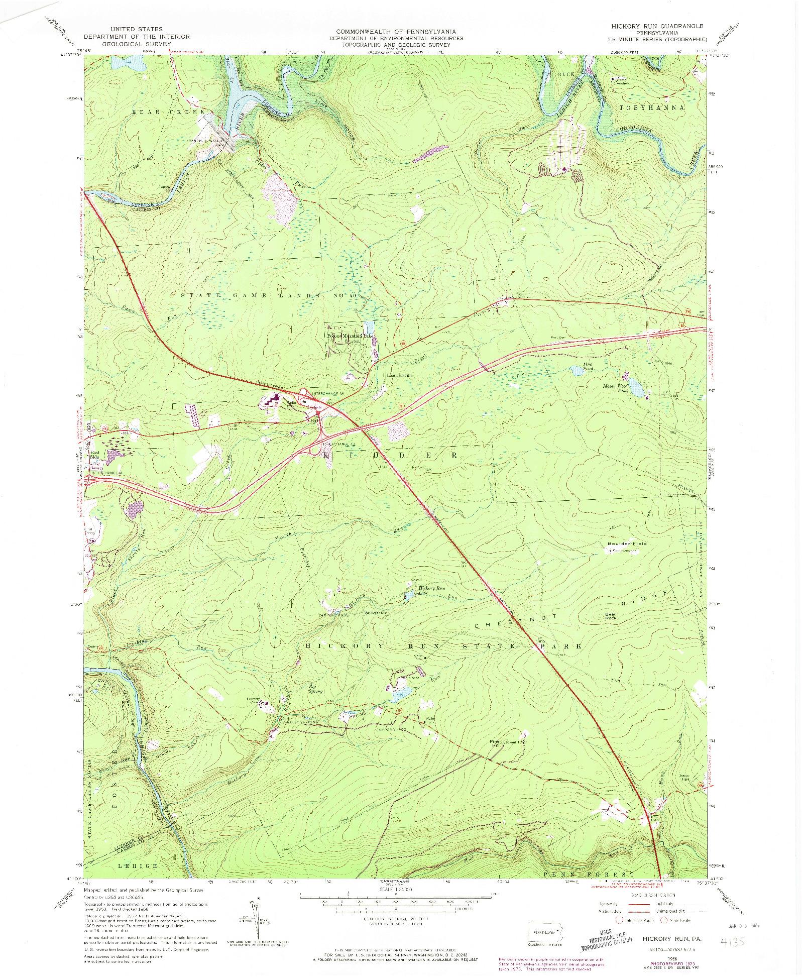 USGS 1:24000-SCALE QUADRANGLE FOR HICKORY RUN, PA 1966