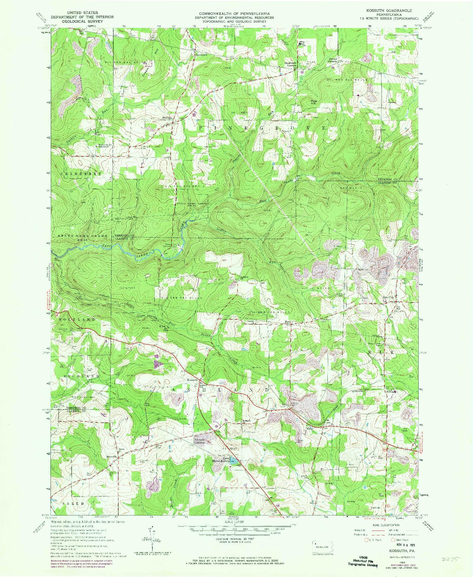 USGS 1:24000-SCALE QUADRANGLE FOR KOSSUTH, PA 1963