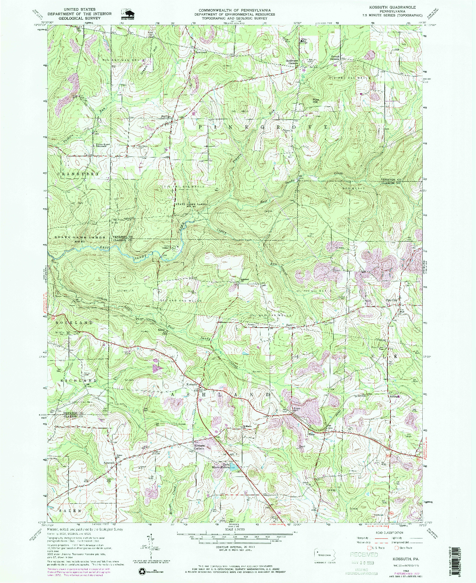 USGS 1:24000-SCALE QUADRANGLE FOR KOSSUTH, PA 1963