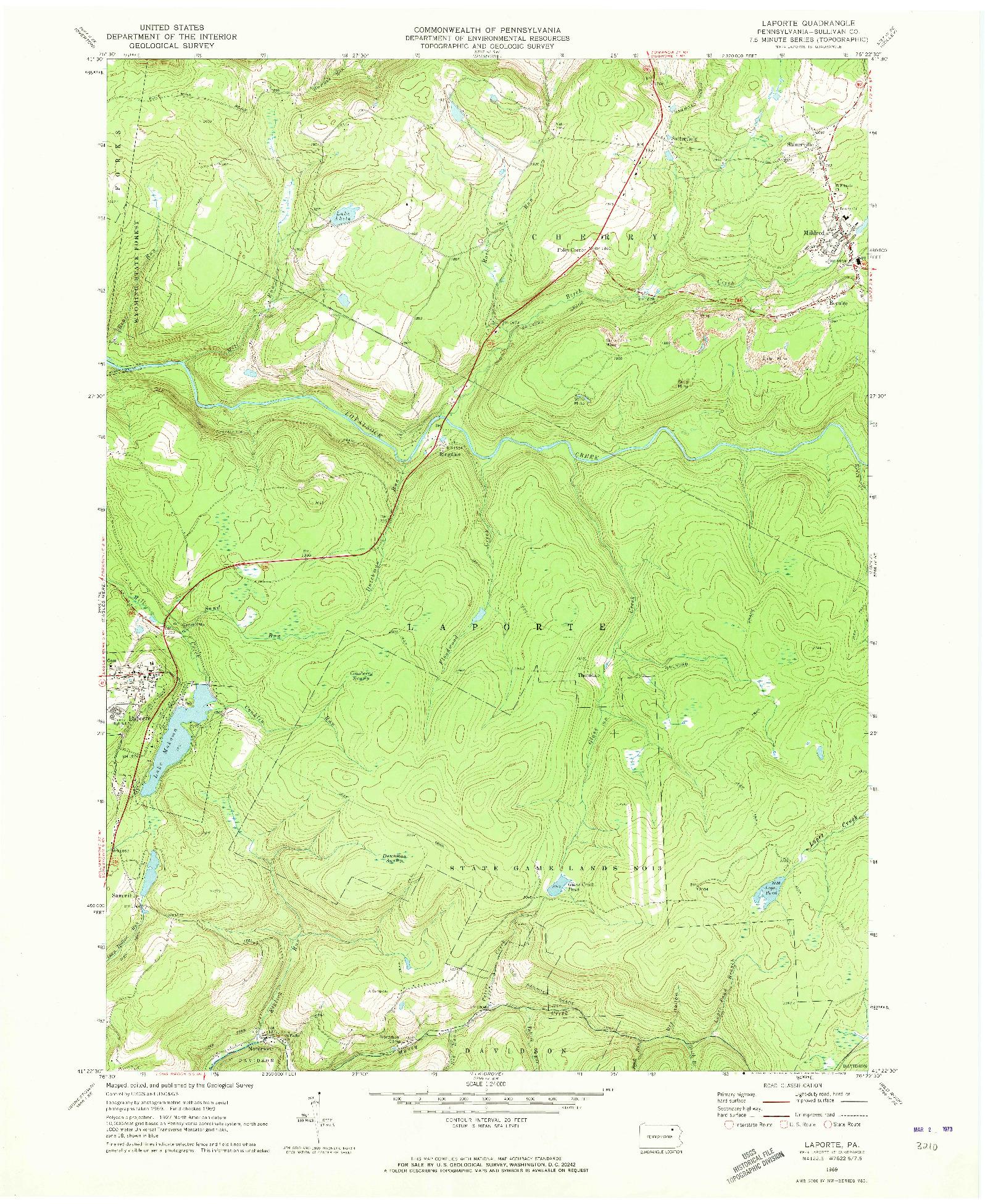 USGS 1:24000-SCALE QUADRANGLE FOR LAPORTE, PA 1969
