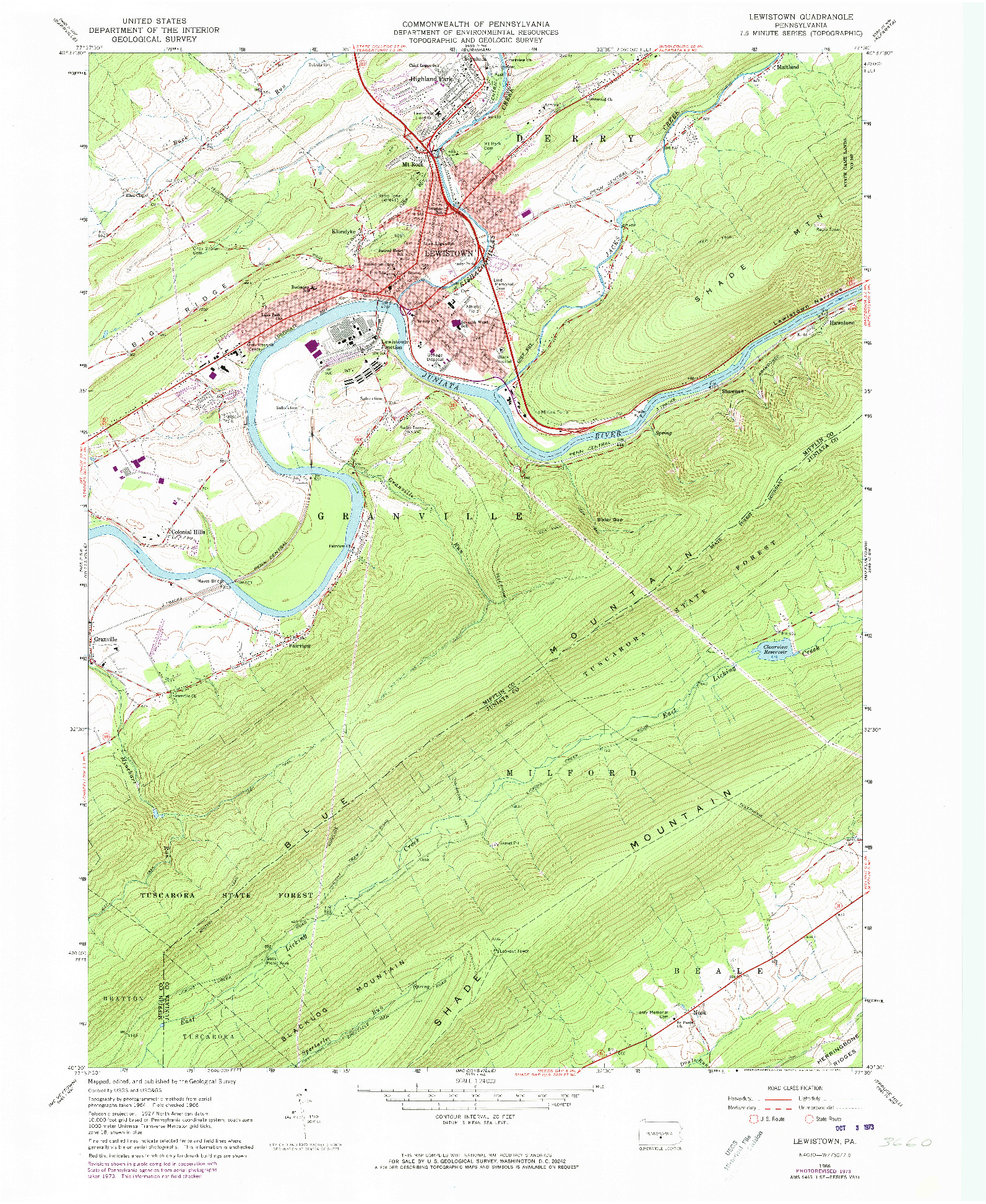 USGS 1:24000-SCALE QUADRANGLE FOR LEWISTOWN, PA 1966
