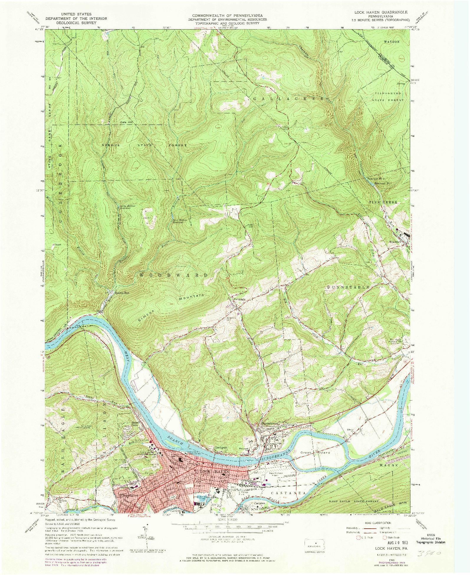 USGS 1:24000-SCALE QUADRANGLE FOR LOCK HAVEN, PA 1965