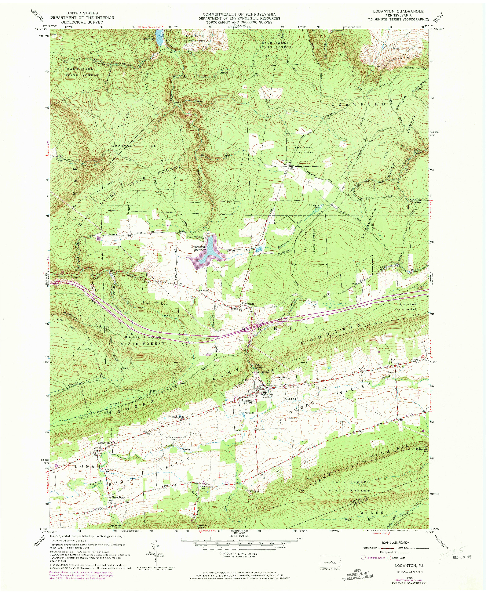 USGS 1:24000-SCALE QUADRANGLE FOR LOGANTON, PA 1965