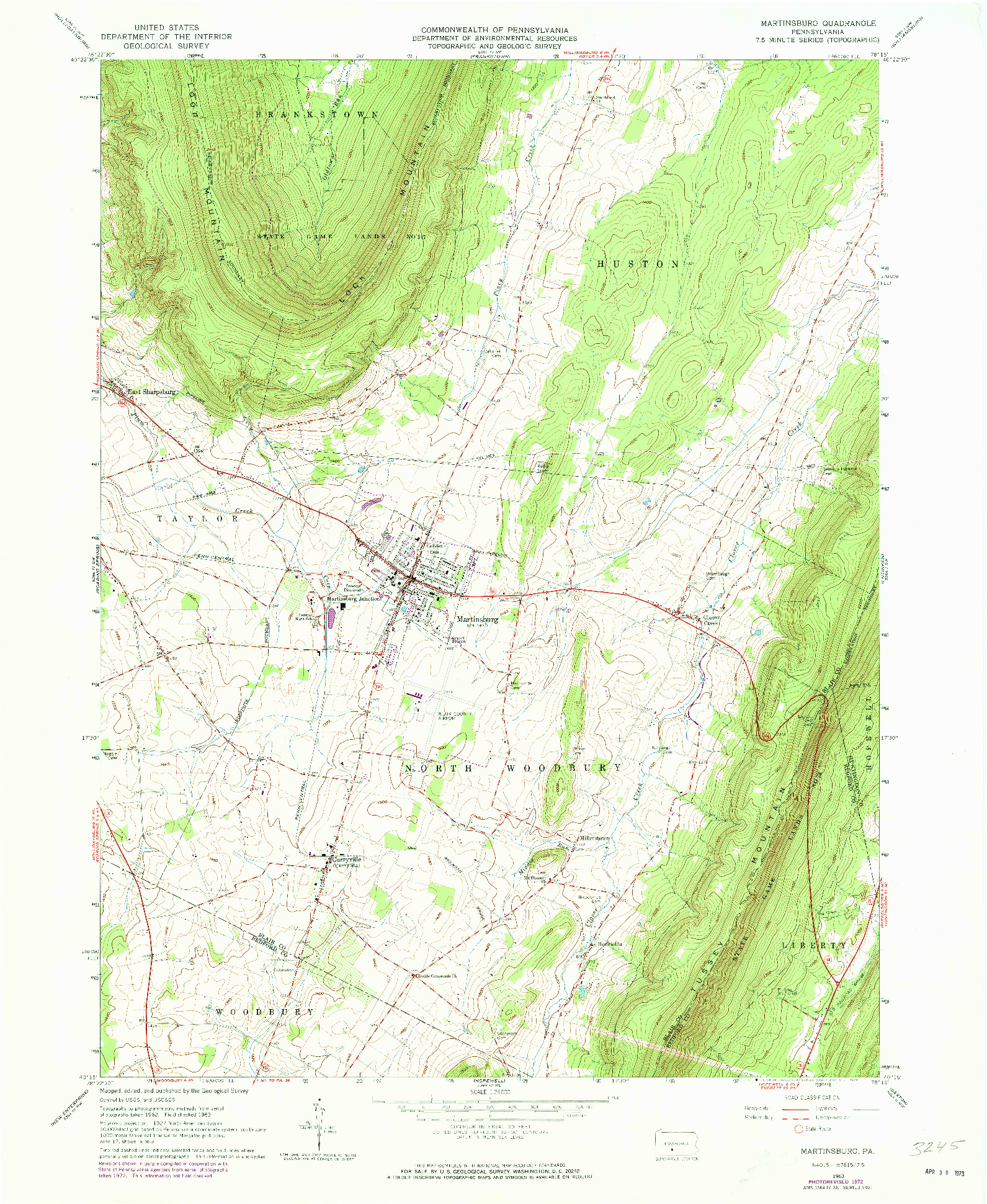 USGS 1:24000-SCALE QUADRANGLE FOR MARTINSBURG, PA 1963